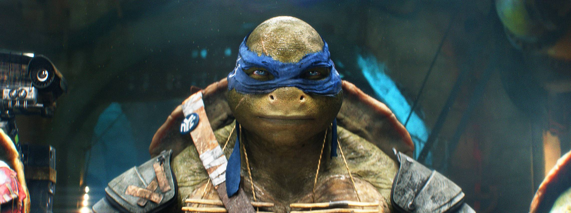 "Leonardo, played by former St. Charles and Hinsdale resident Pete Ploszek, goes into action in ""Teenage Mutant Ninja Turtles."""