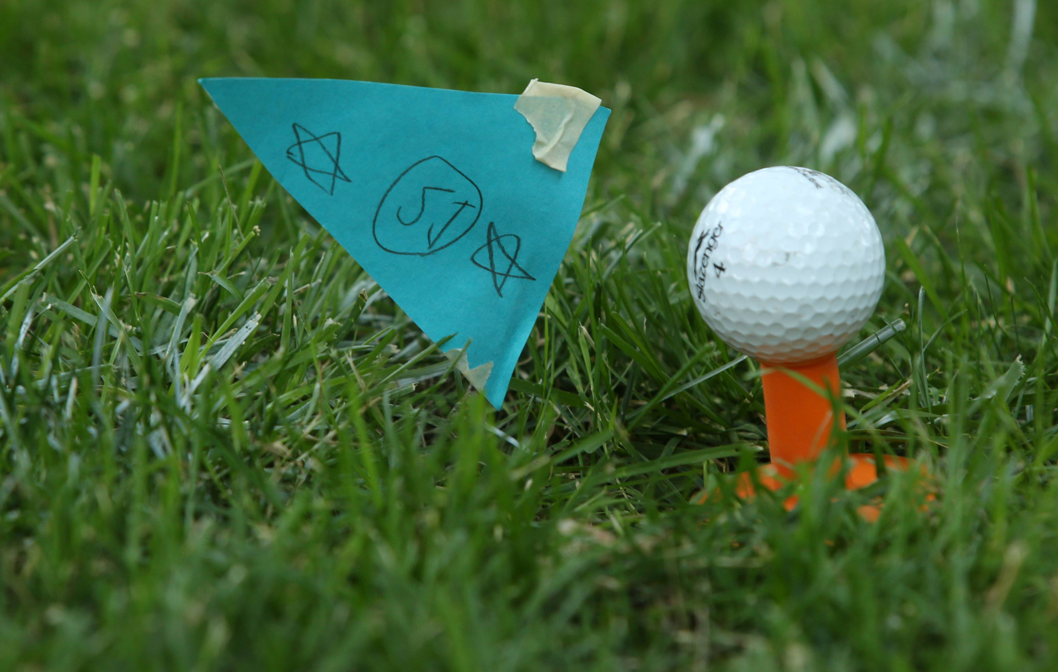 Lily Anderson created homemade flags to complete the golfing experience on the mini-golf course she helped her neighbor friends build in Schaumburg.