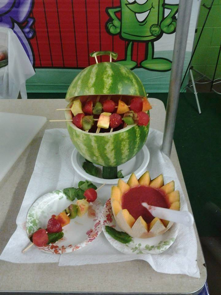 For a fun, festive and seasonal dessert spread, create a watermelon grill and fruit kebabs.