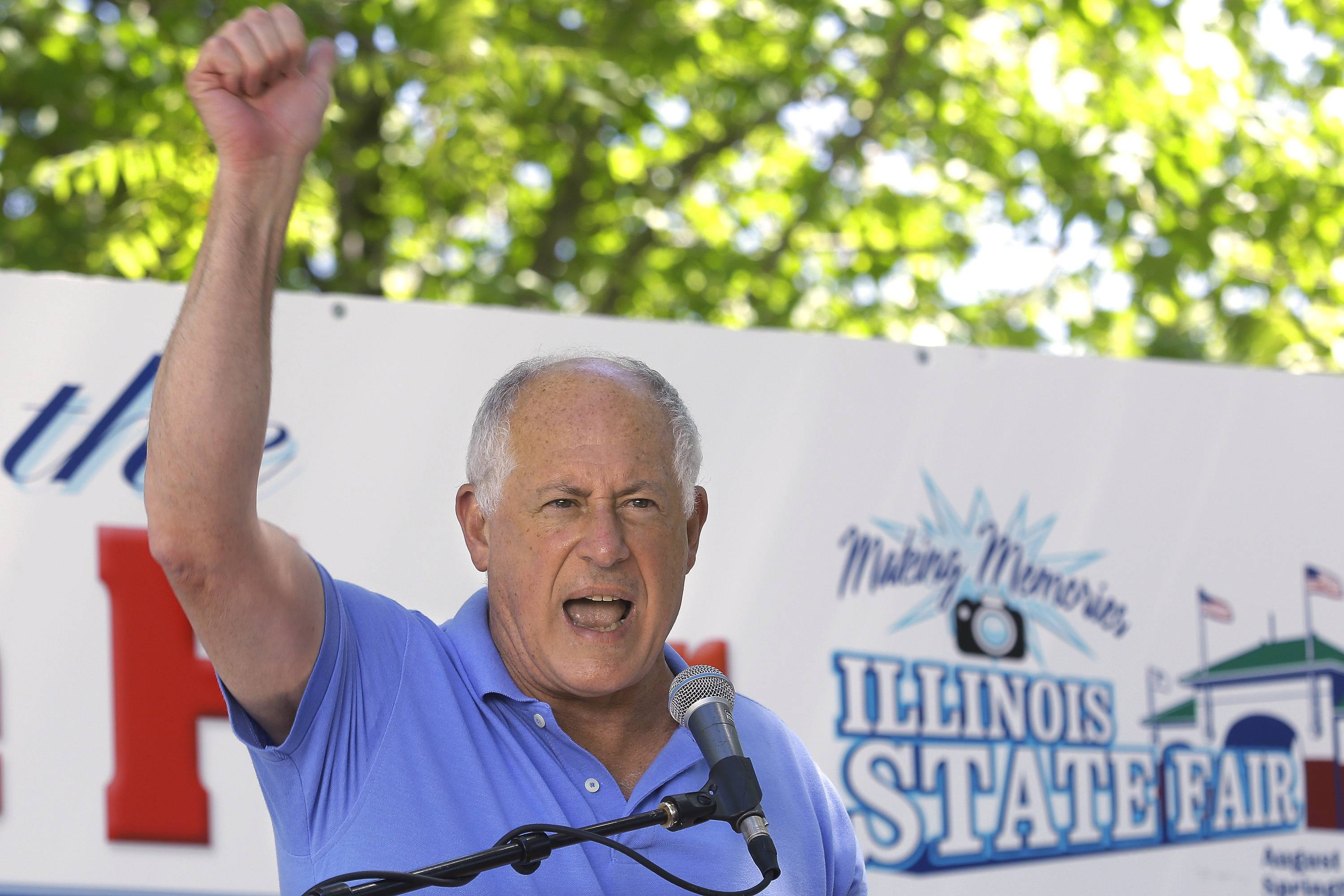 Illinois Gov. Pat Quinn speaks on Governor's Day at the Illinois State Fair, Wednesday in Springfield.