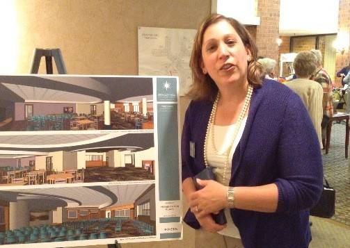 Beacon Hill Executive Director Blaire Goldstein shows off renderings of the senior community's $15 million expansion project. A groundbreaking ceremony was held Wednesday for the project.