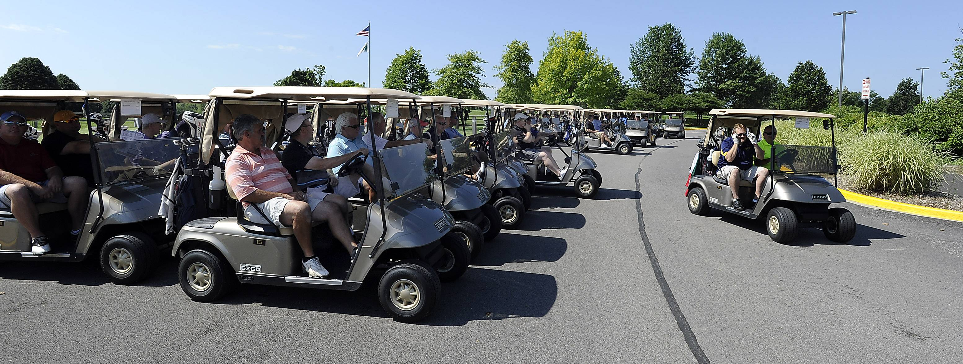 Golfers head out for 18 holes Wednesday at the Links Technology Cup, a park district fundraiser held at the Schaumburg Golf Club.