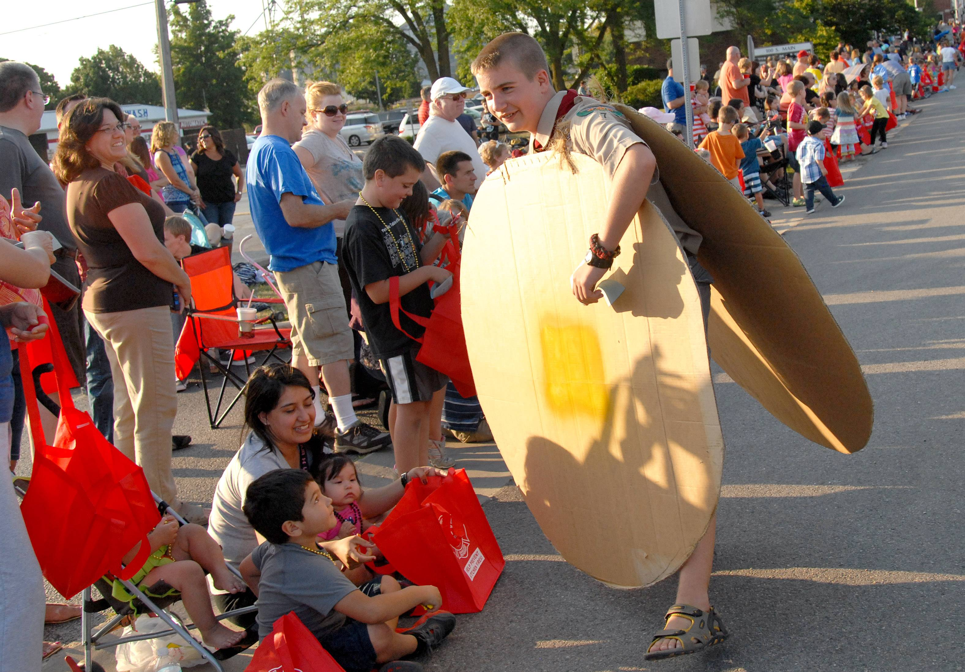 Dressed as a pancake, RJ Herra, 11, of Elburn passes out fliers for Boy Scout Troop 7's pancake breakfast at a previous Elburn Days parade. This year's breakfast is from 7 to 10:30 a.m. Saturday, Aug. 16, at the American Legion Hall, 112 N. Main St., Elburn.