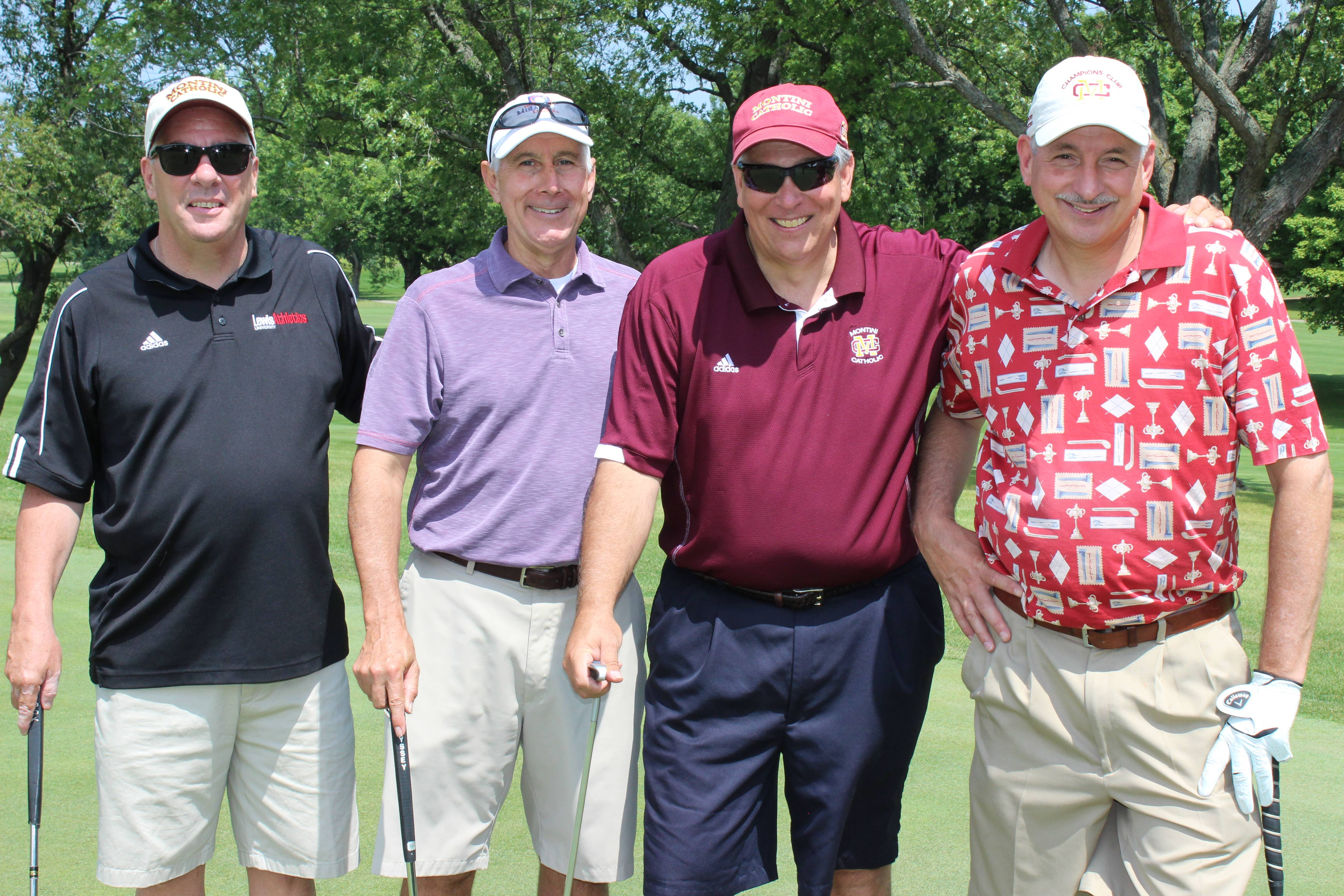 L to R:  Rich Burke, rich Binder, Montini Catholic High School President Jim Segredo and Mike Bava celebrated Montini's 25th Annual Bronco Golf Classic on August 8th.Barbara Dawson