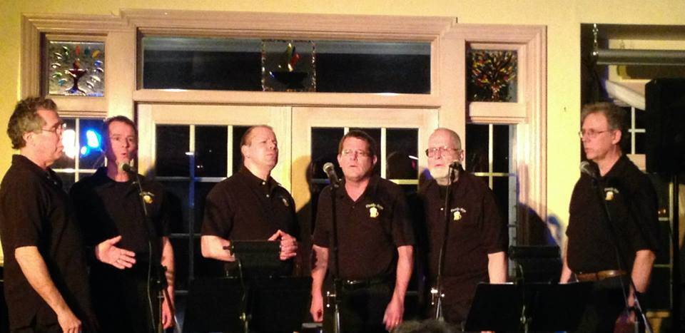 Members of the Frothy Boys, from left, George Kazlusky, Peter Tinkler, Paul Krieg, Whitman Sears and Thomas Steffens, entertain at Haystacks Coffee House.