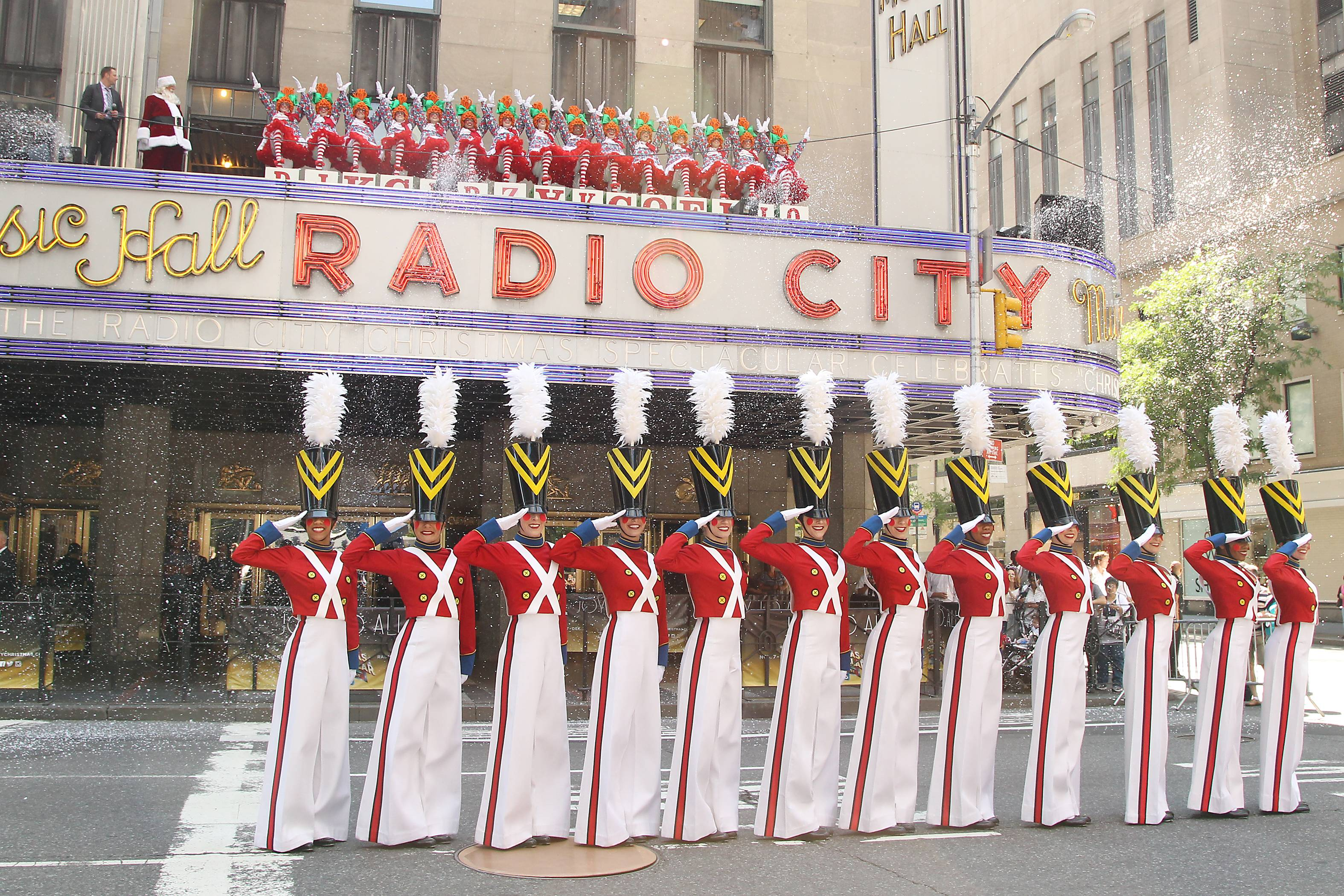 "This image released by Starpix shows The Rockettes dressed as toy soldiers and rag dolls at Radio City Music Hall in New York, Thursday, Aug. 14, 2014, kicking off the 2014 ""The Radio City Christmas Spectacular,"" which starts Nov. 7. (AP Photo/Starpix, Dave Allocca)"