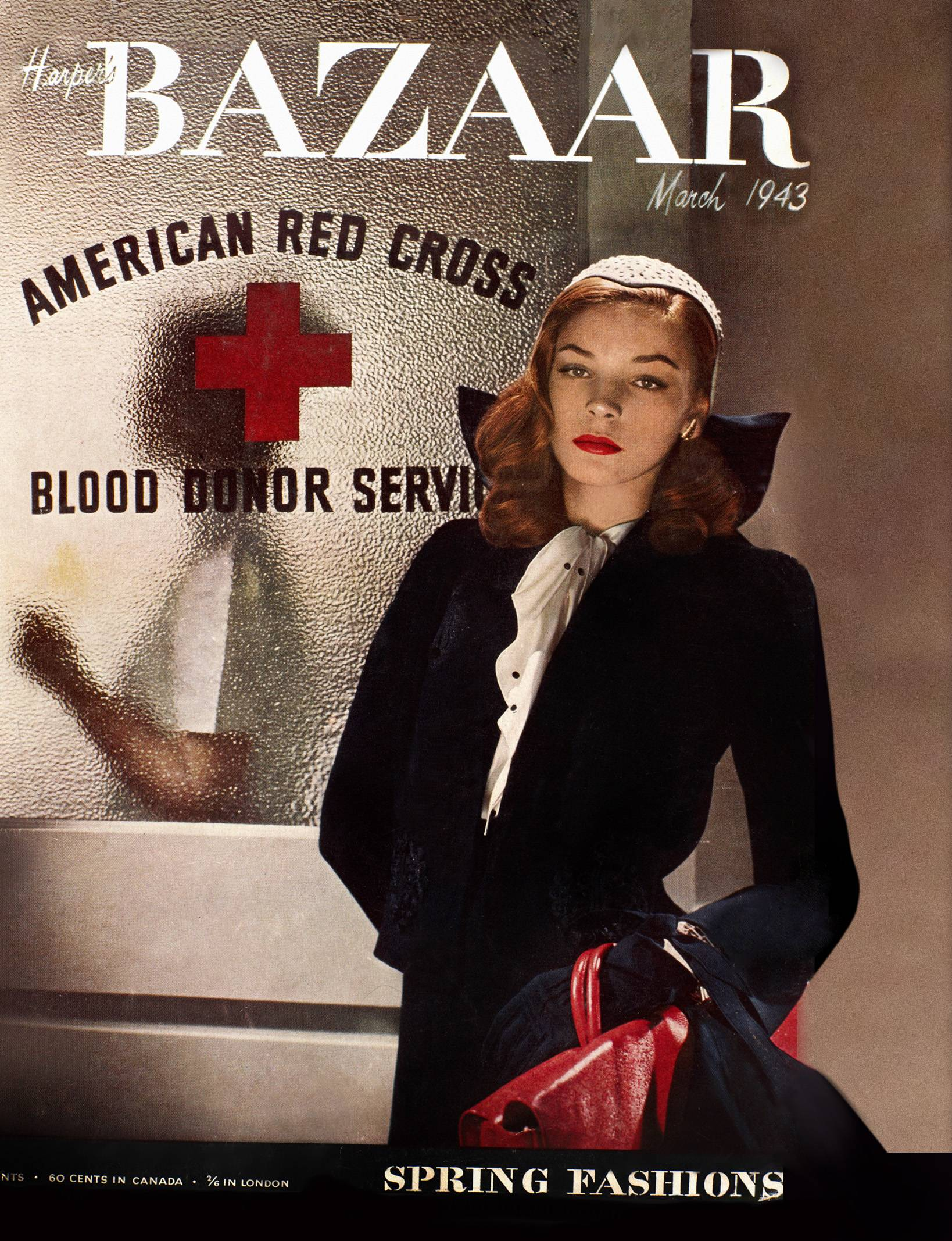 "Actress-model Lauren Bacall on the cover of the March 1943 issue of ""Harper's Bazaar."""