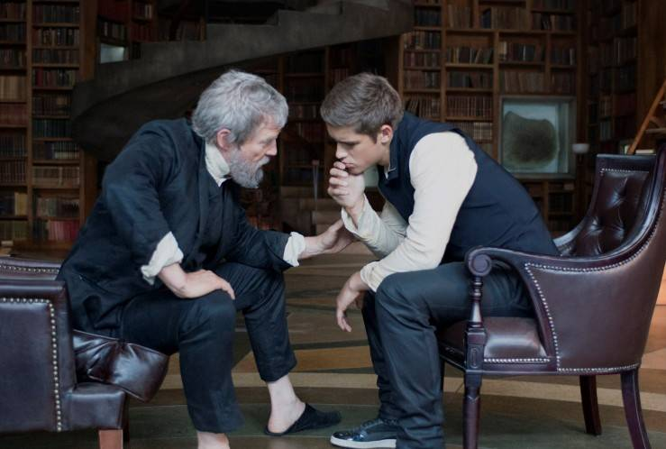 "A wise old man (Jeff Bridges) takes on a youthful prot�g� (Brenton Thwaites) in the futuristic society of ""The Giver,"" based on the best-seller."