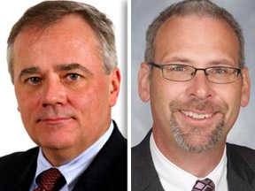 Kenneth Arndt, left, and Tony Sanders, right, have assumed roles leading Elgin Area School District U-46 in the wake of the departure of Superintendent Jose Torres. Arndt will be interim superintendent, and Sanders will be CEO.