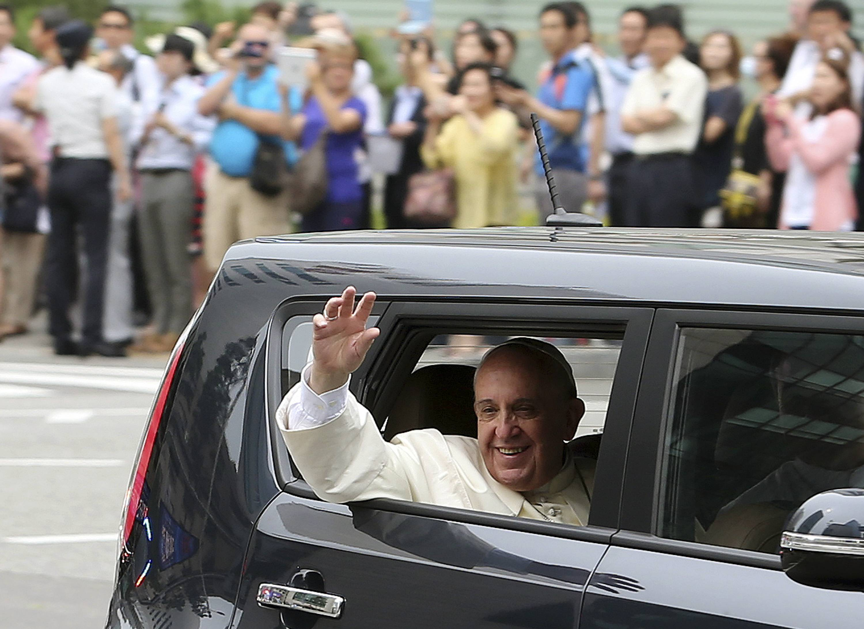 Pope Francis' choice of wheels during his five-day South Korean visit has surprised many in this painfully self-conscious country, where big-shots rarely hit the streets in anything but expensive luxury cars.