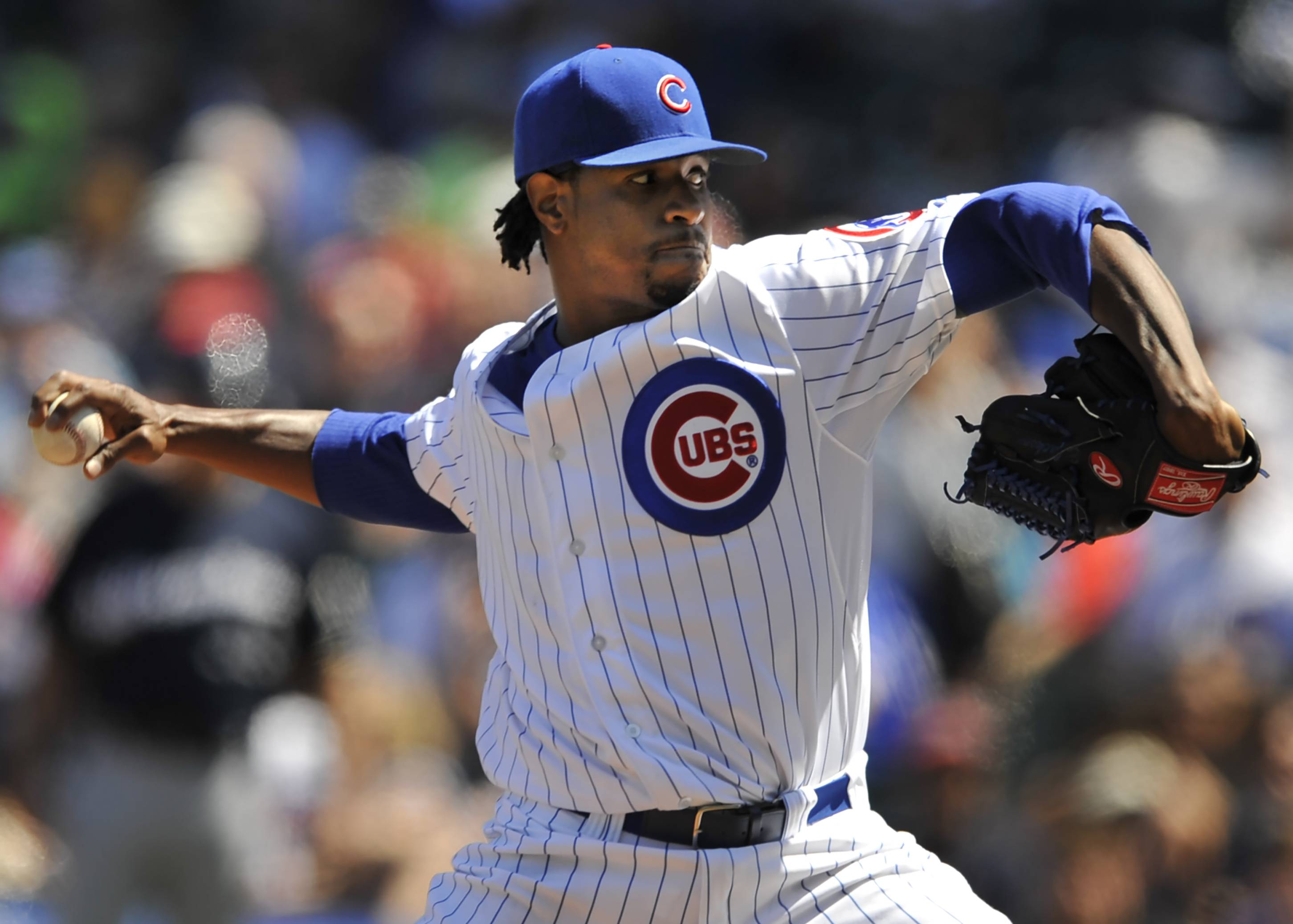 Cubs starter Edwin Jackson delivers a pitch during Thursday's first inning at Wrigley Field.
