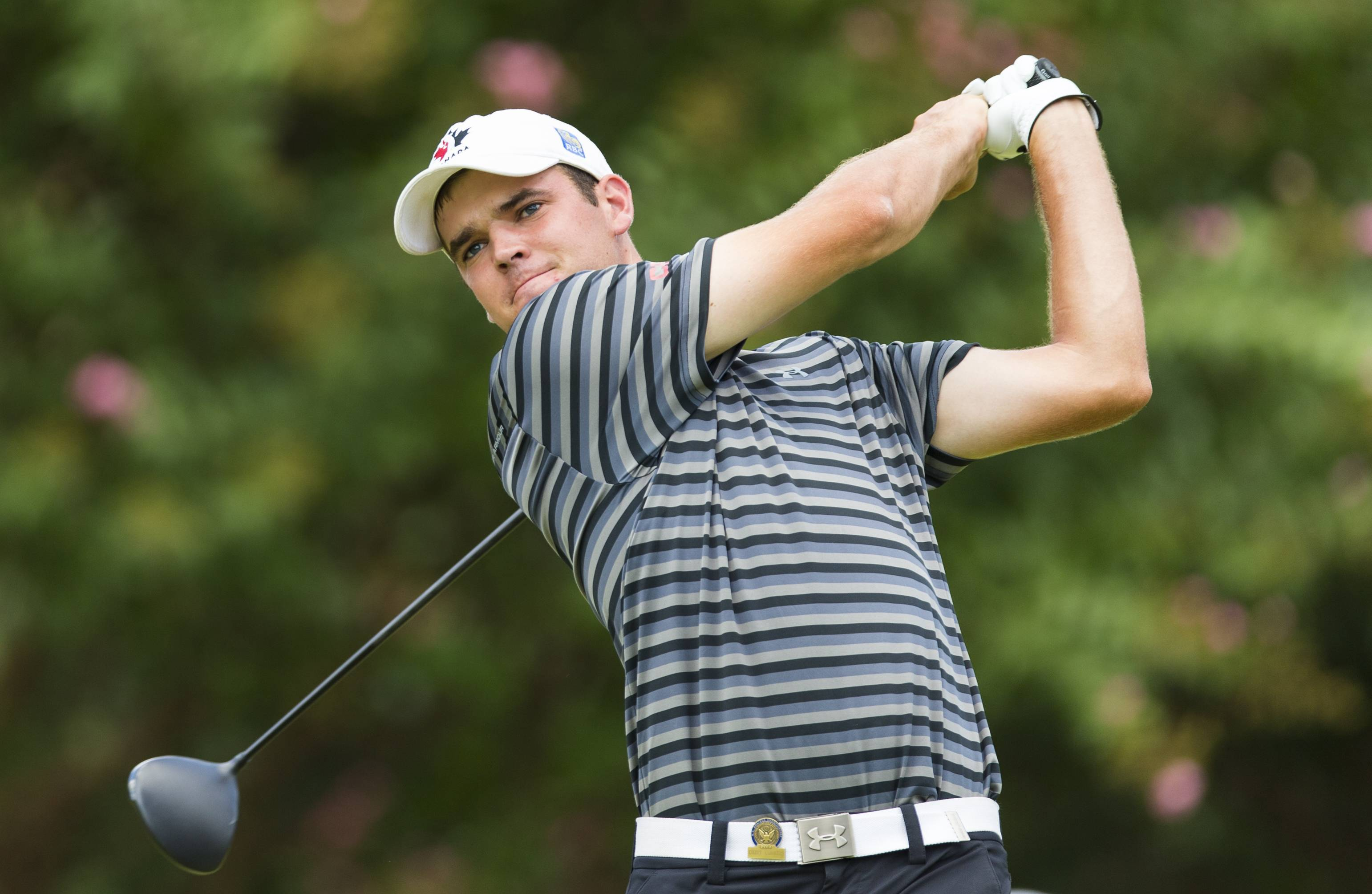 Corey Conner of Canada advanced to the quarterfinals after winning his third-round match play at the U.S. Amateur golf tournament at Atlanta Athletic Club in Johns Creek, Ga., Thursday. Doug Ghim of Arlington Heights and Dan Stringfellow of Roselle lost in the Round of 64 on Wednesday.