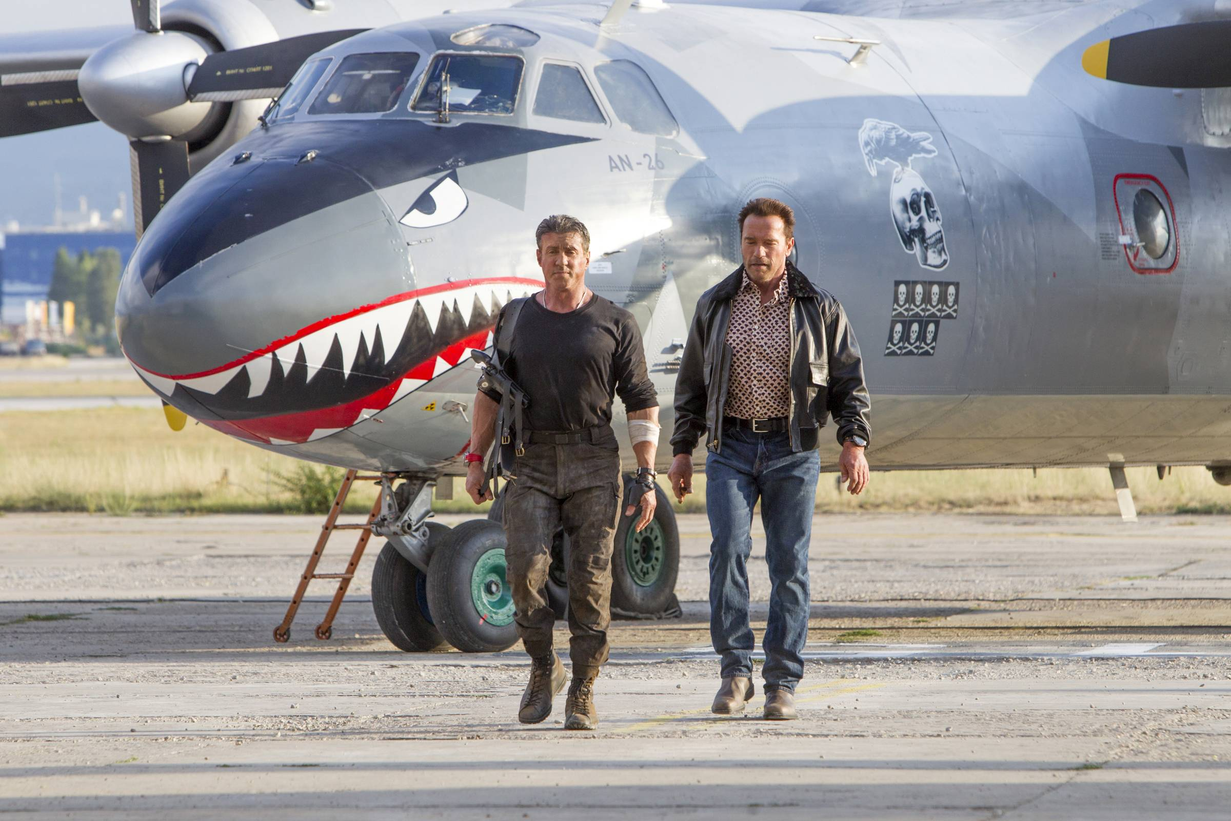 "It's up to old-timers Barney (Sylvester Stallone), left, and Trench (Arnold Schwarzenegger) to save the day in ""Expendables 3."""