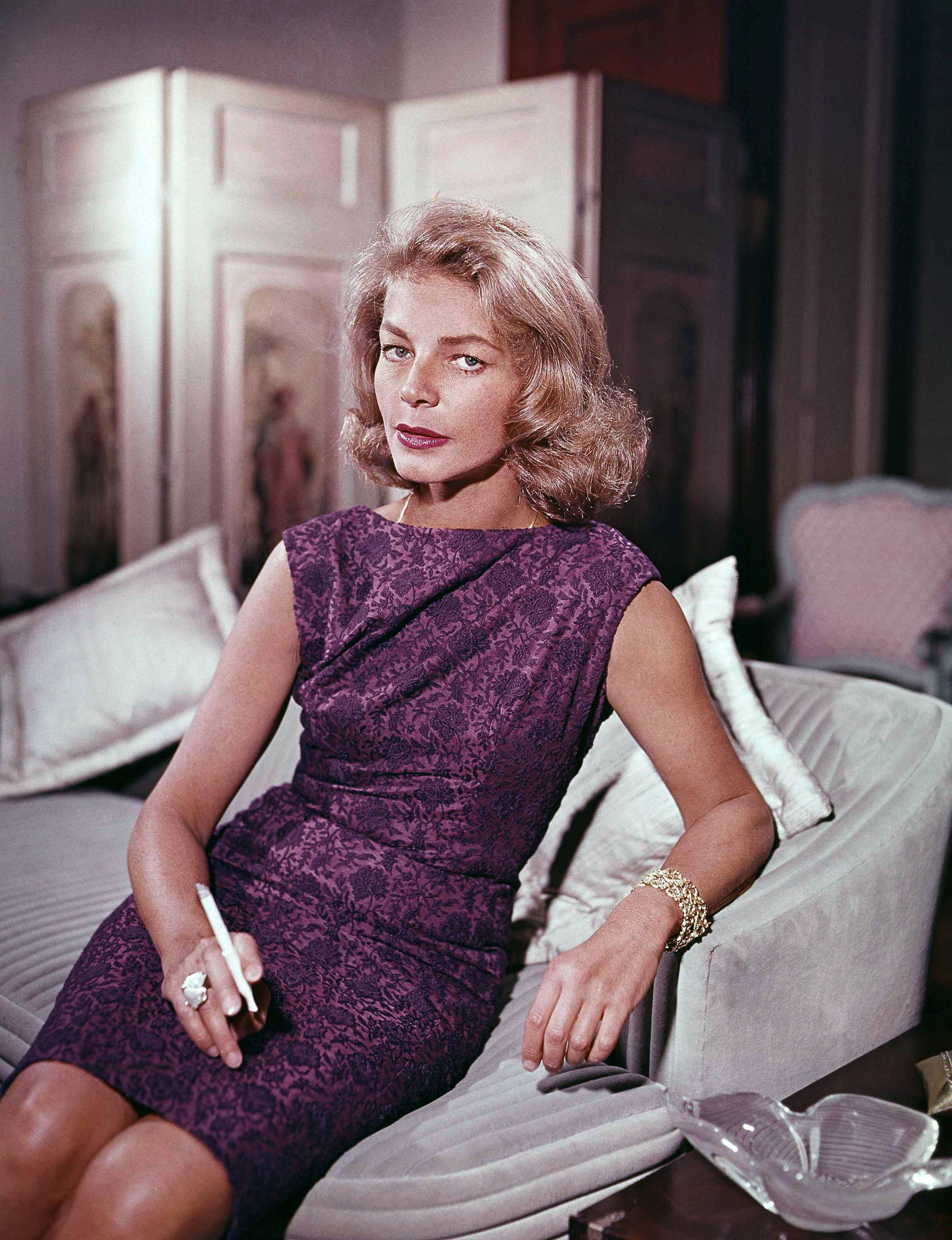 Lauren Bacall, shown here in 1965, the sultry-voiced actress and Humphrey Bogart's partner off and on the screen, died Tuesday in New York. She was 89.