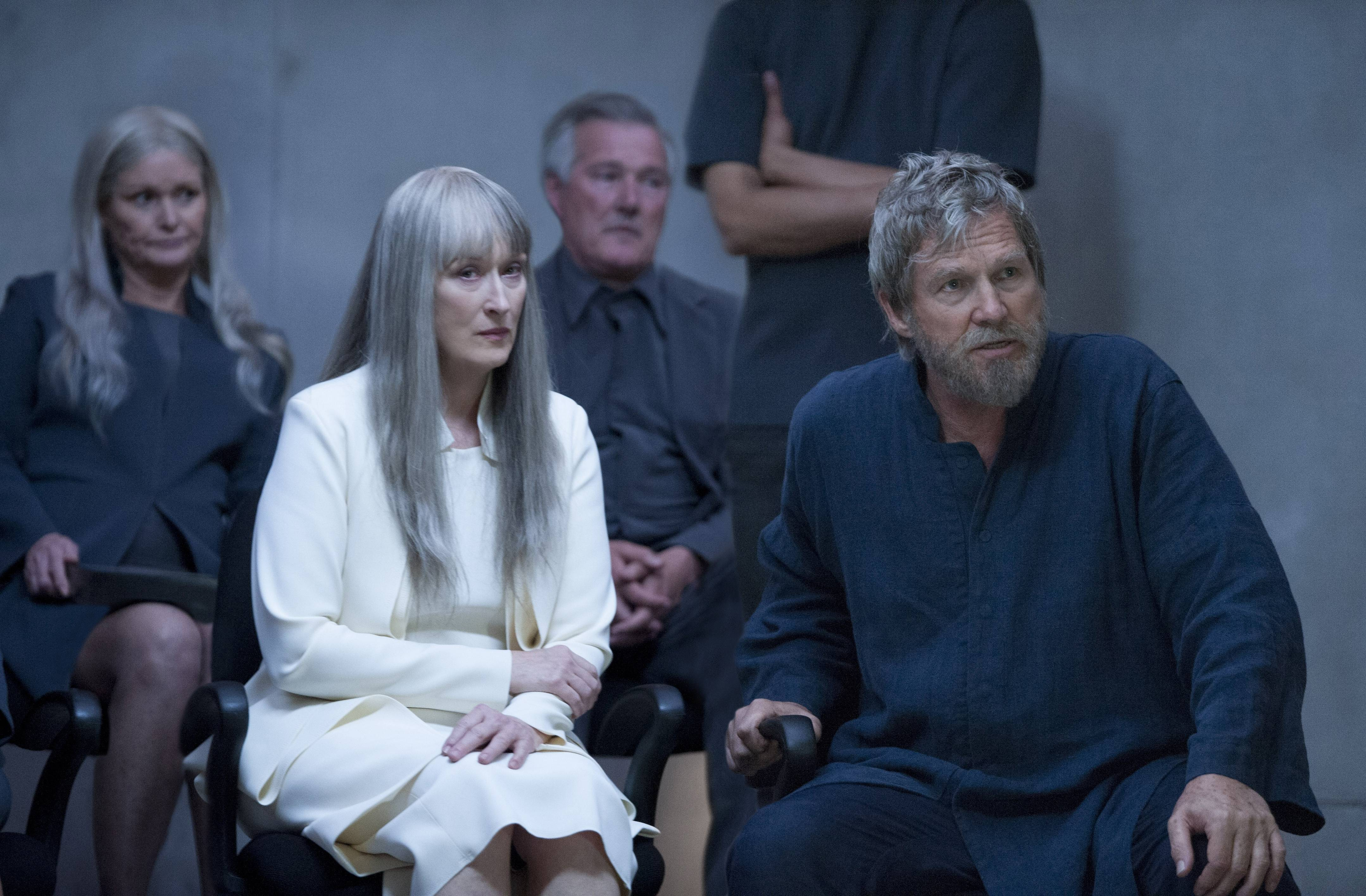 "The Chief Elder (Meryl Streep) consults with the GFiver (Jeff Bridges) in the futuristic society of ""The Giver."""