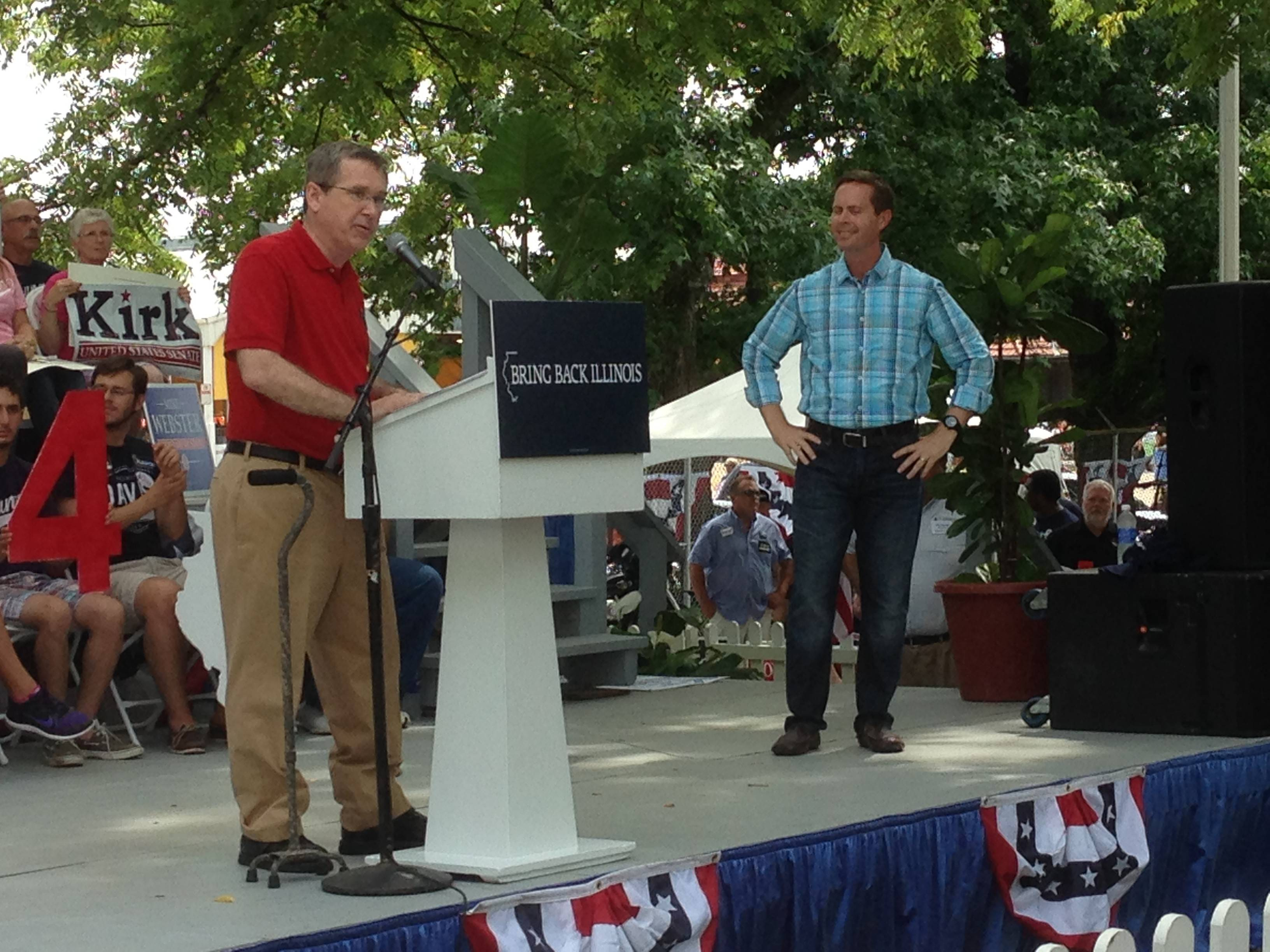 U.S. Sen. Mark Kirk, a Highland Park Republican, speaks to the Republican gathering at the Illinois State Fair Thursday.