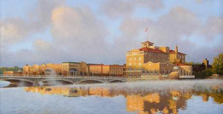 "The oil painting, ""Sunrise, St. Charles,"" by Nick Freeman, will be the centerpiece of an art auction on Friday, Aug. 15, at the Norris Cultural Arts Center in St. Charles."