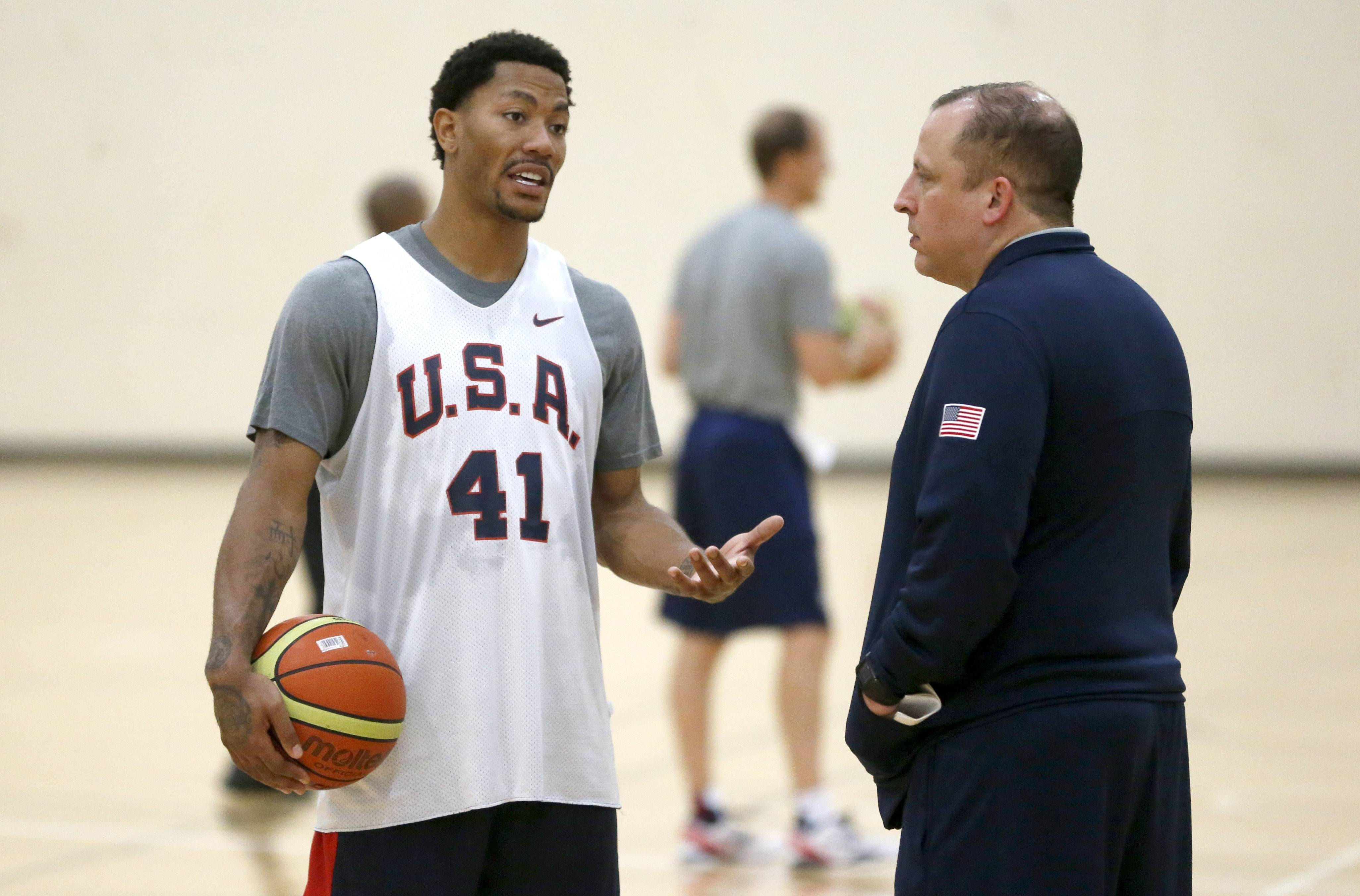 Derrick Rose, left, said that he has enjoyed discussions on a variety of topics with Team USA assistant coach Tom Thibodeau as they prepare for the FIBA World Cup of Basketball,