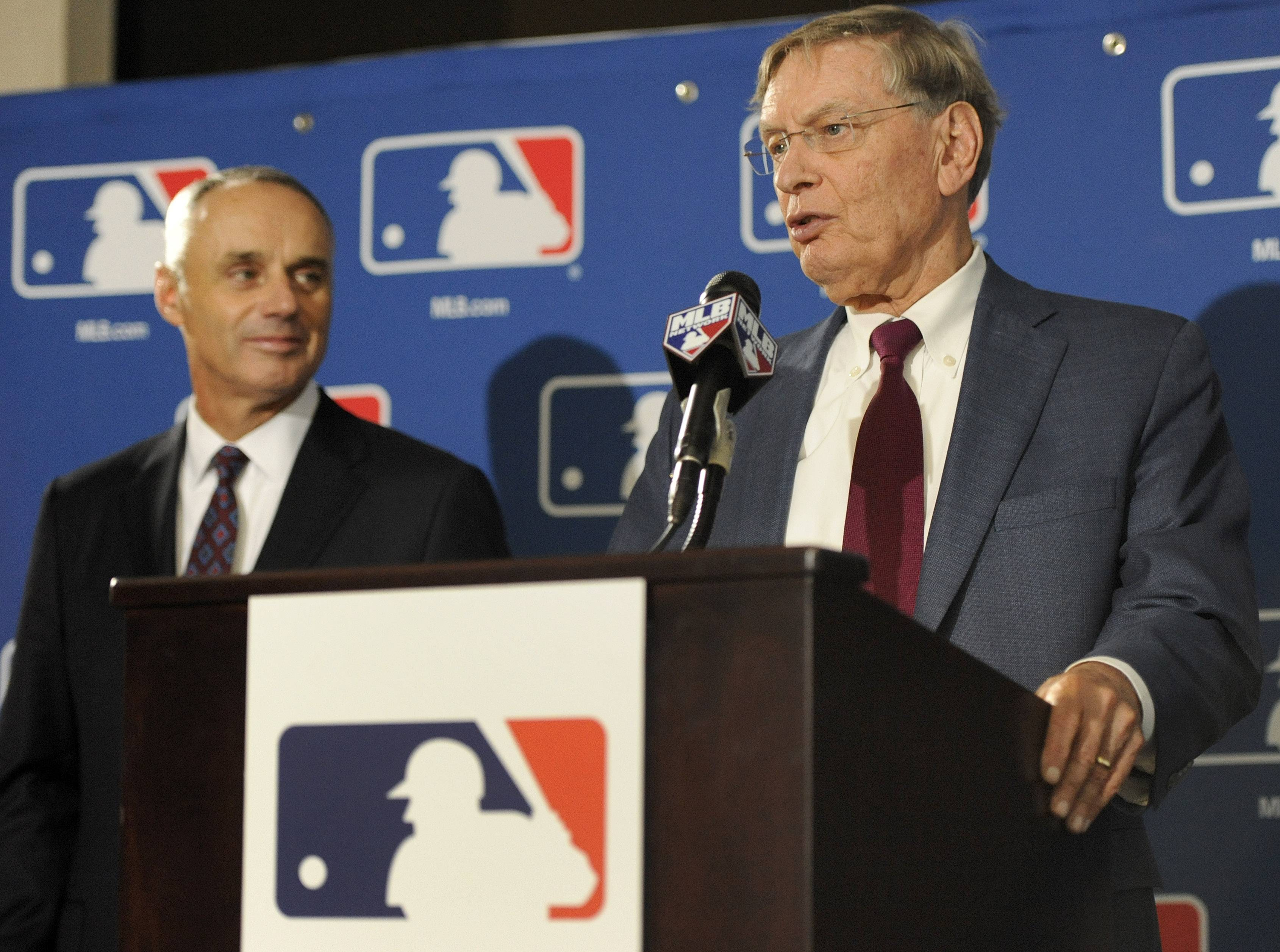 "Major League Baseball Commissioner Allan H. ""Bud"" Selig, right, and Major League Baseball Chief Operating Officer Rob Manfred speak to reporters after team owners elected Manfred as the next commissioner of Major League Baseball during an owners quarterly meeting in Baltimore Thursday."