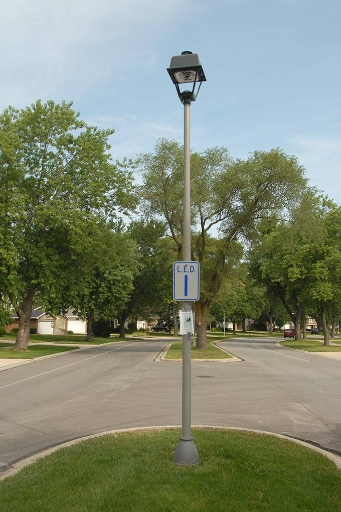 Wheaton residents are being asked to vote online for their favorite style of new LED streetlights before Sept. 15. Sample streetlamps are on display on Briarcliffe Boulevard.