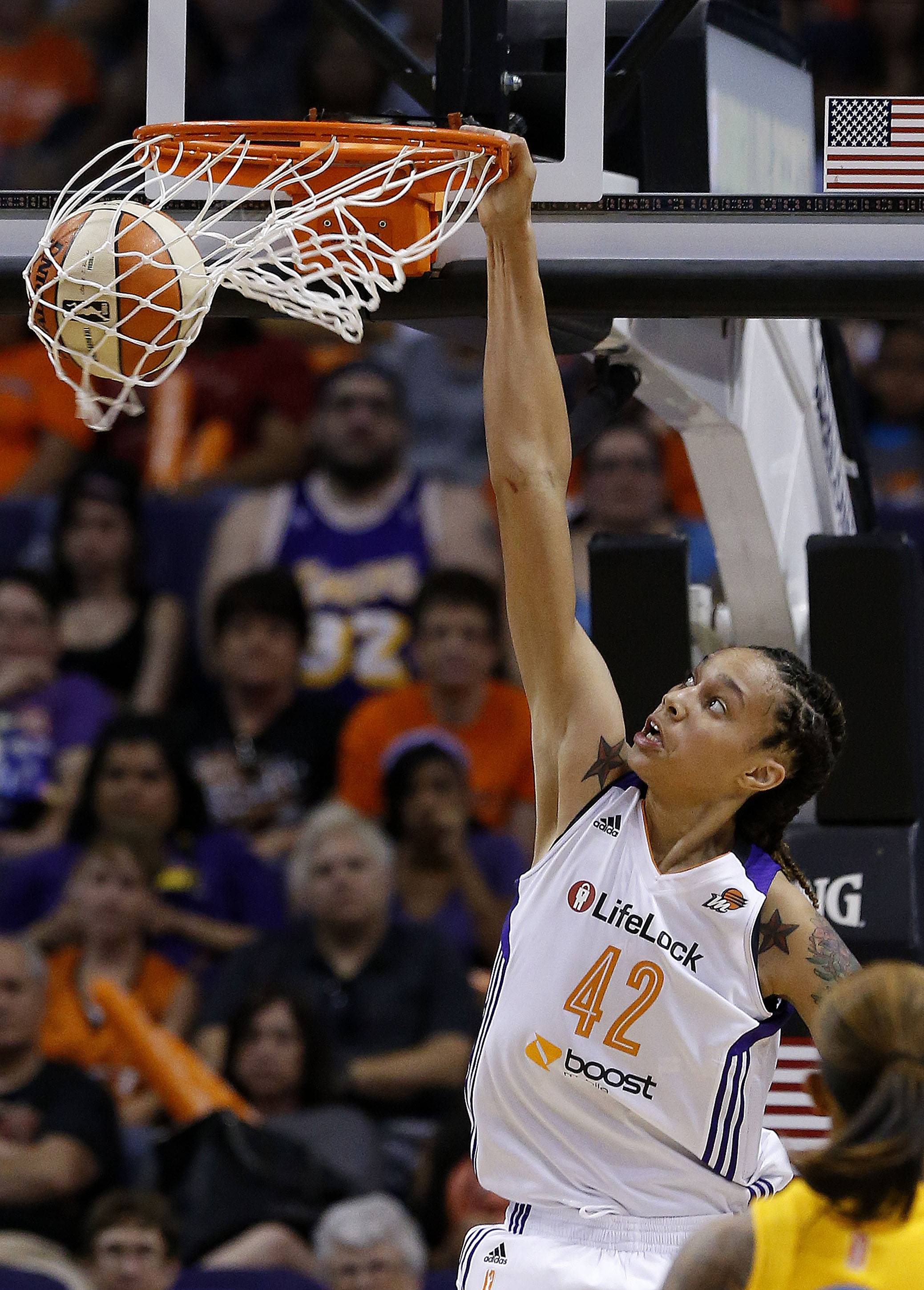 The Phoenix Mercury's Brittney Griner as embraced her role as a prominent gay athlete since finishing a record-breaking career at Baylor.