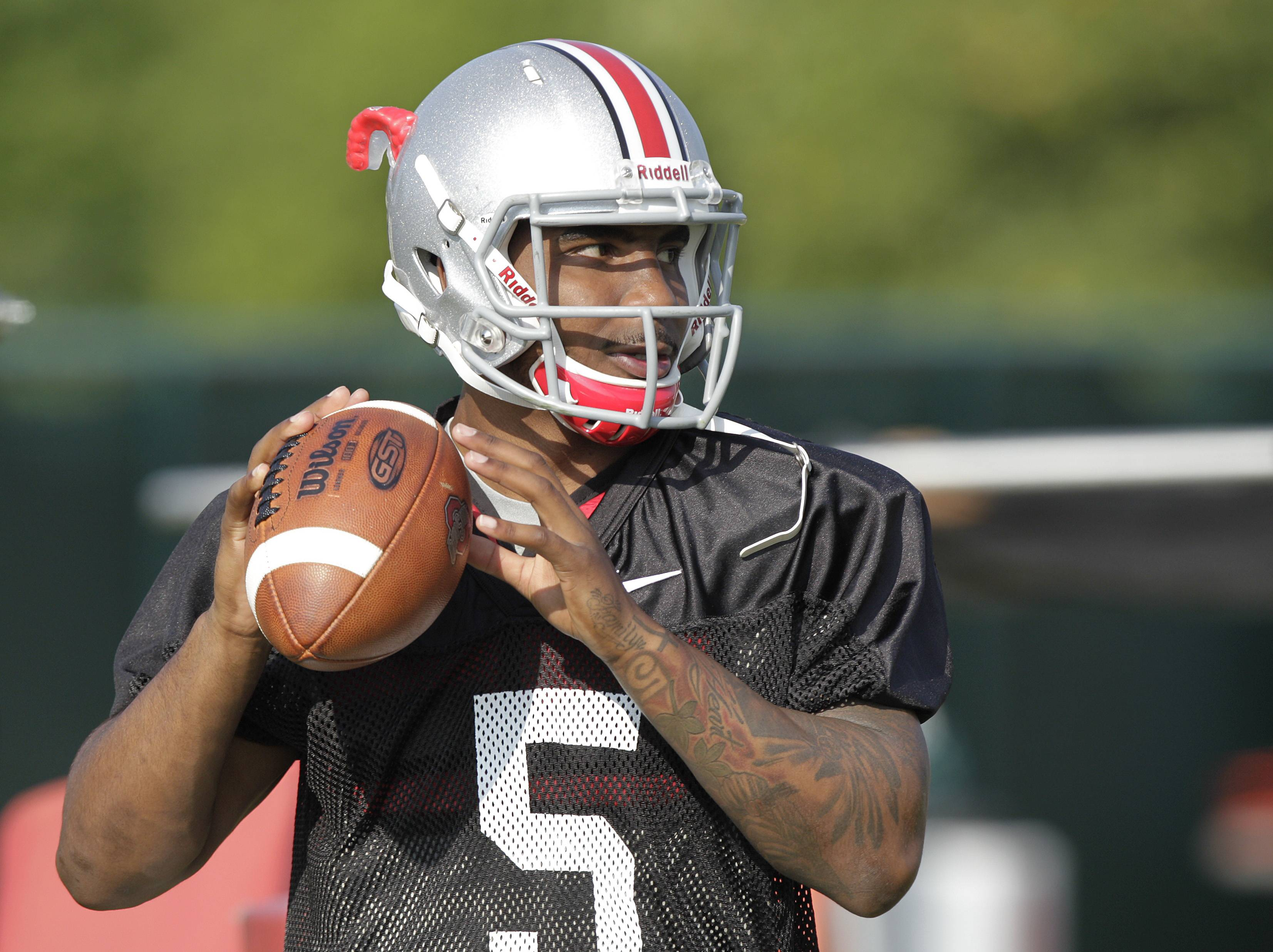 Ohio State quarterback Braxton Miller warms up during practice Aug. 9 in Columbus, Ohio.