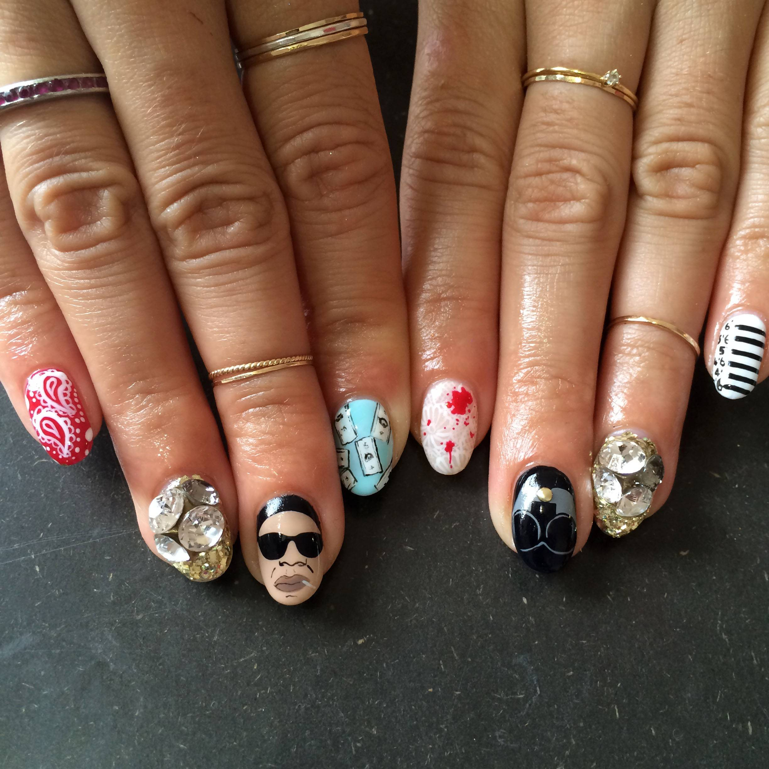 "This fingernail design theme for a Jay Z and Beyoncé concert was created by Miho ""Mei"" Kawajiri."