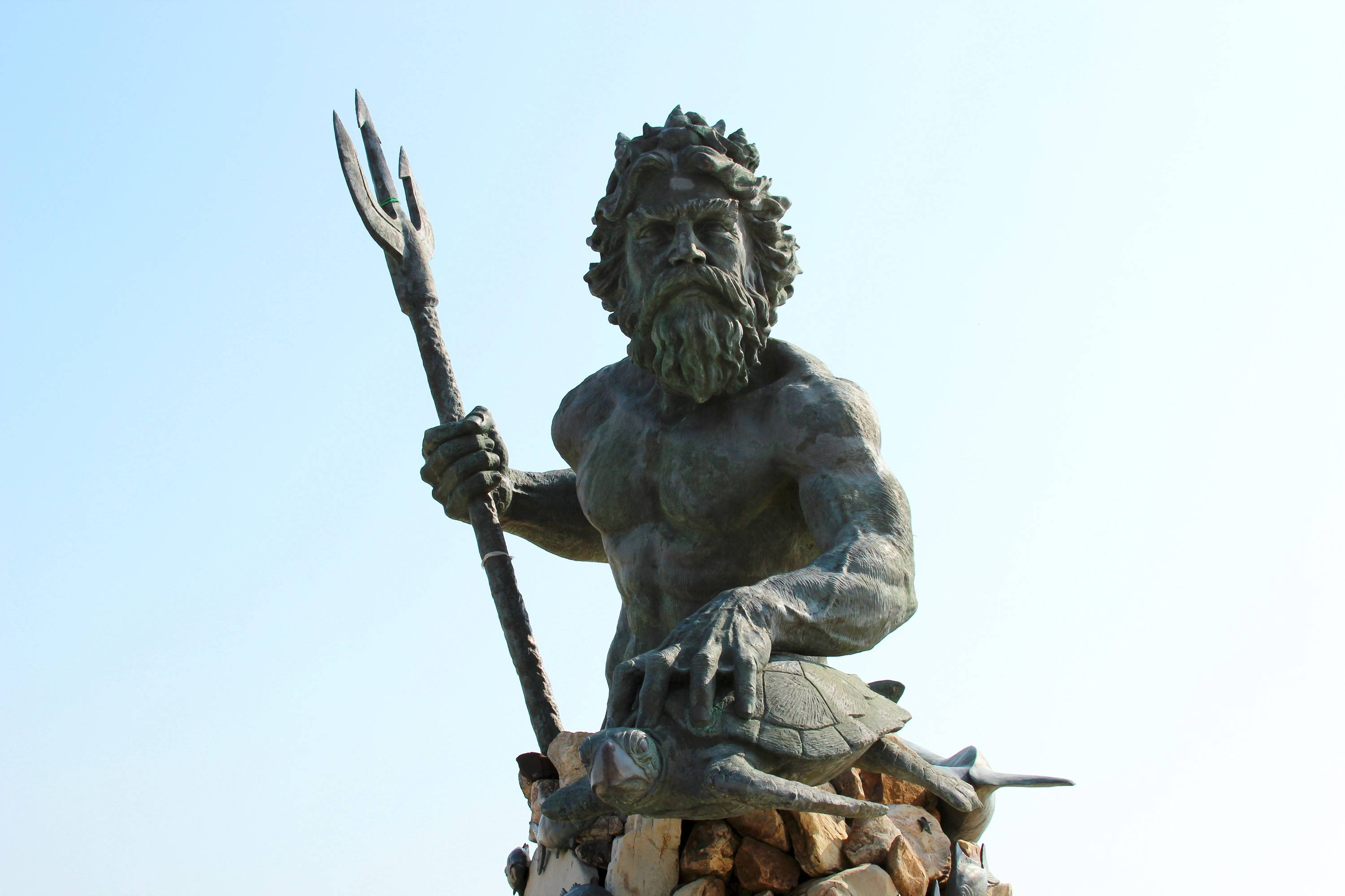 King Neptune, the mythical sea god, stands watch over the oceanfront in Virginia Beach, Va. The 34-foot statue is a popular selfie spot.