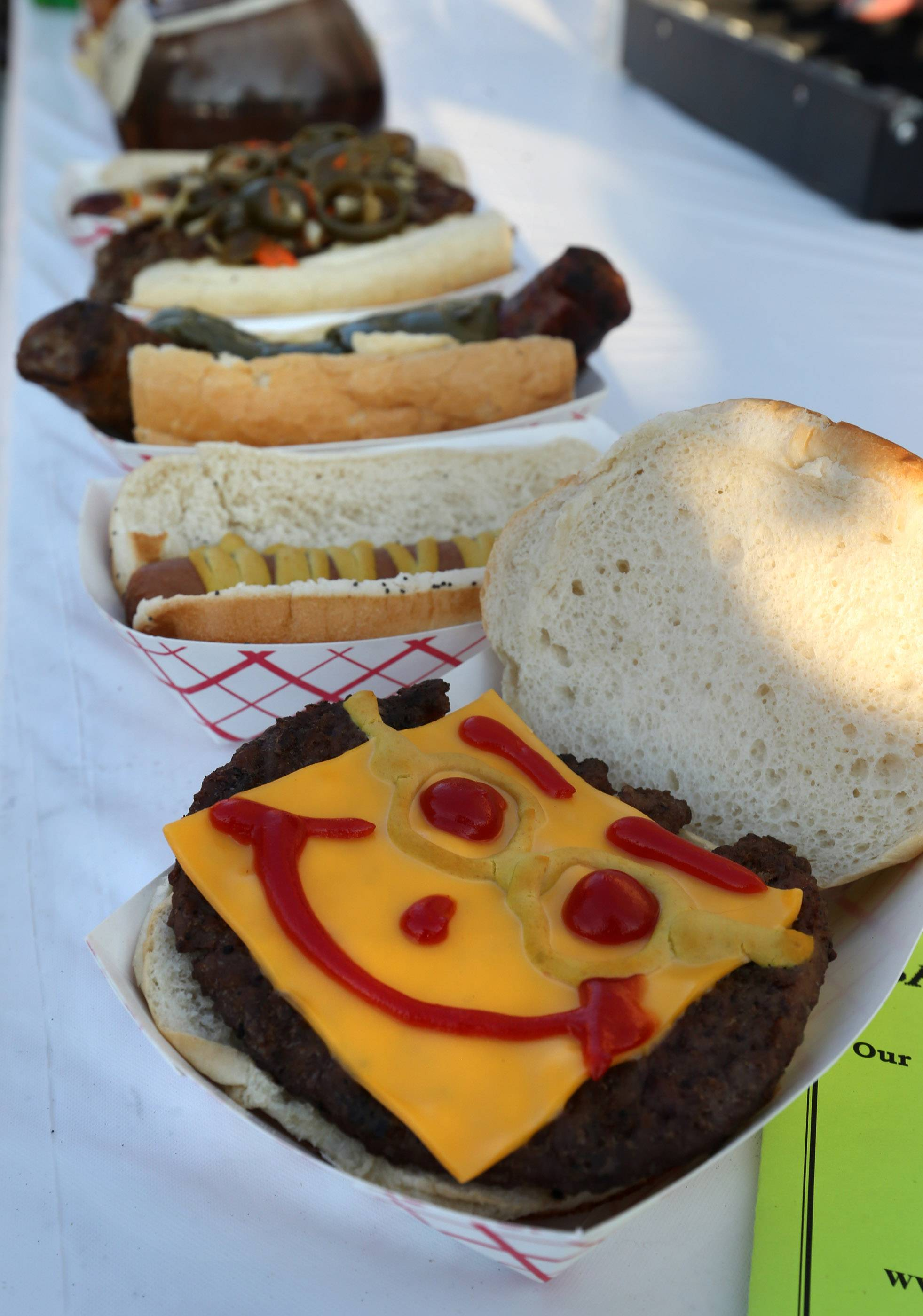 A hamburger at the Luke's of Mundelein food booth reflects the festive flavor of Grayslake Summer Days.