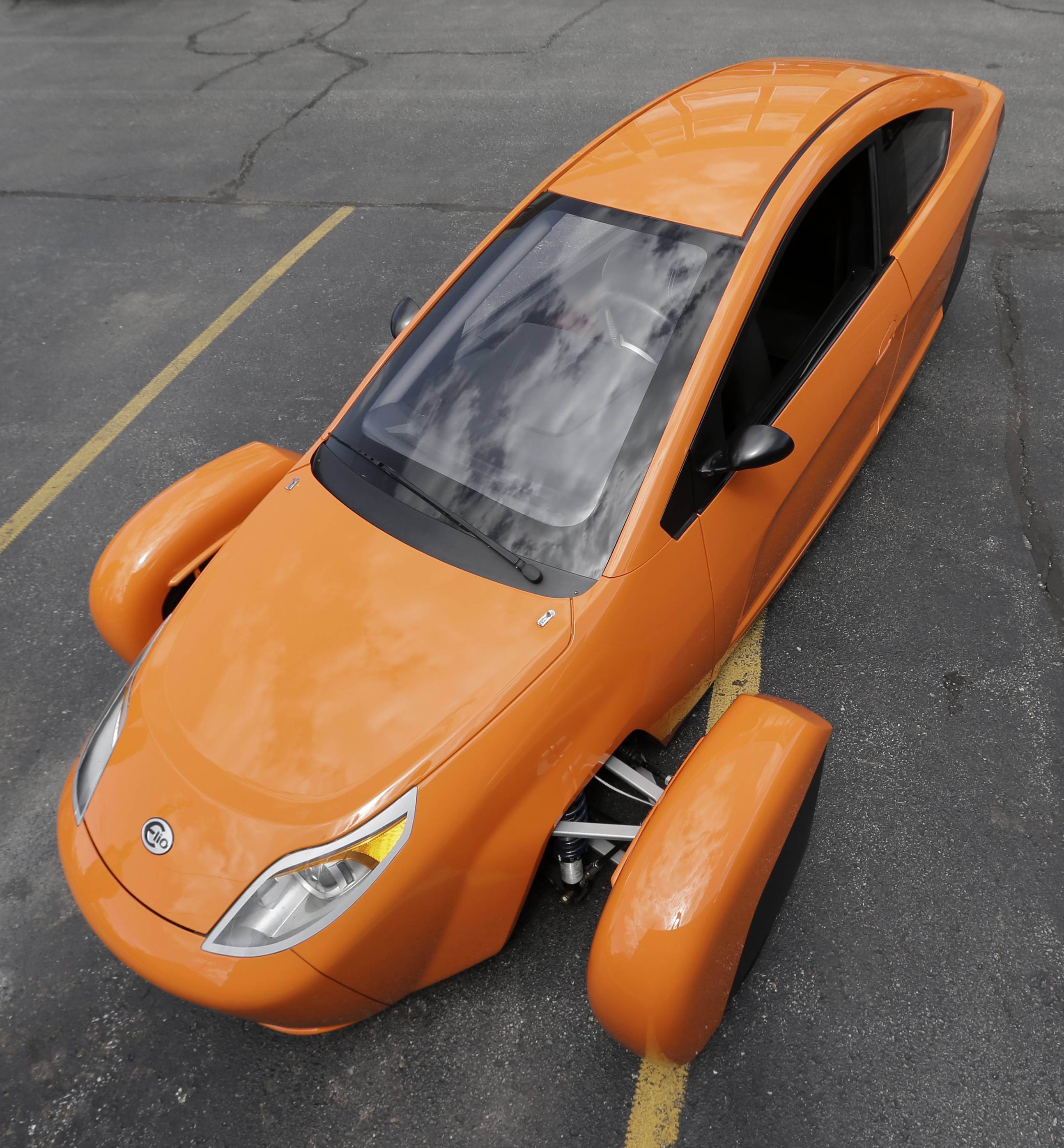 The Elio, a three-wheeled prototype vehicle, in Royal Oak, Mich