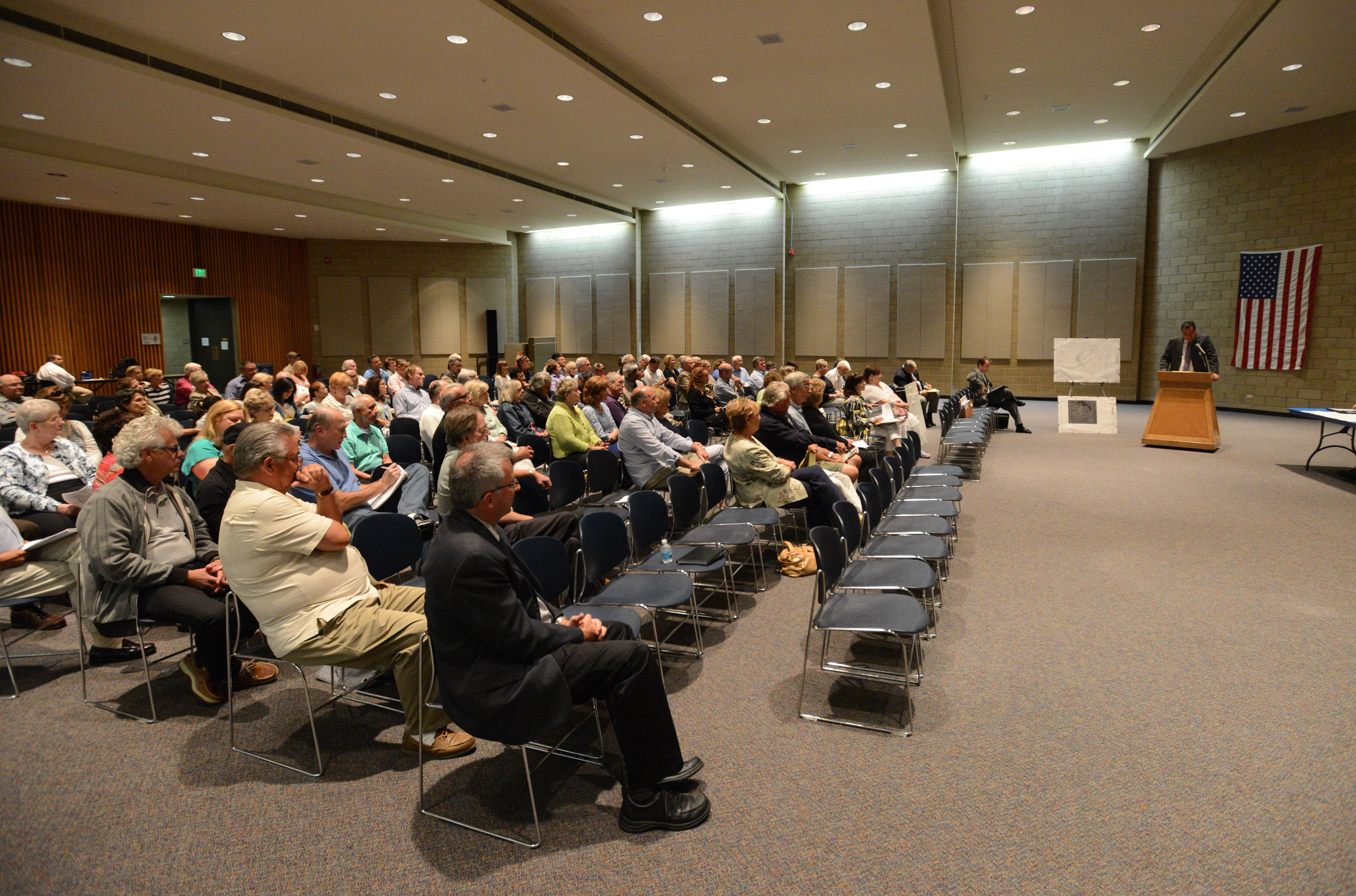 More than 100 residents attended a Thursday night public hearing to urge DuPage County officials to reject Ruth Lake Country Club's plan to build a skeet shooting range.