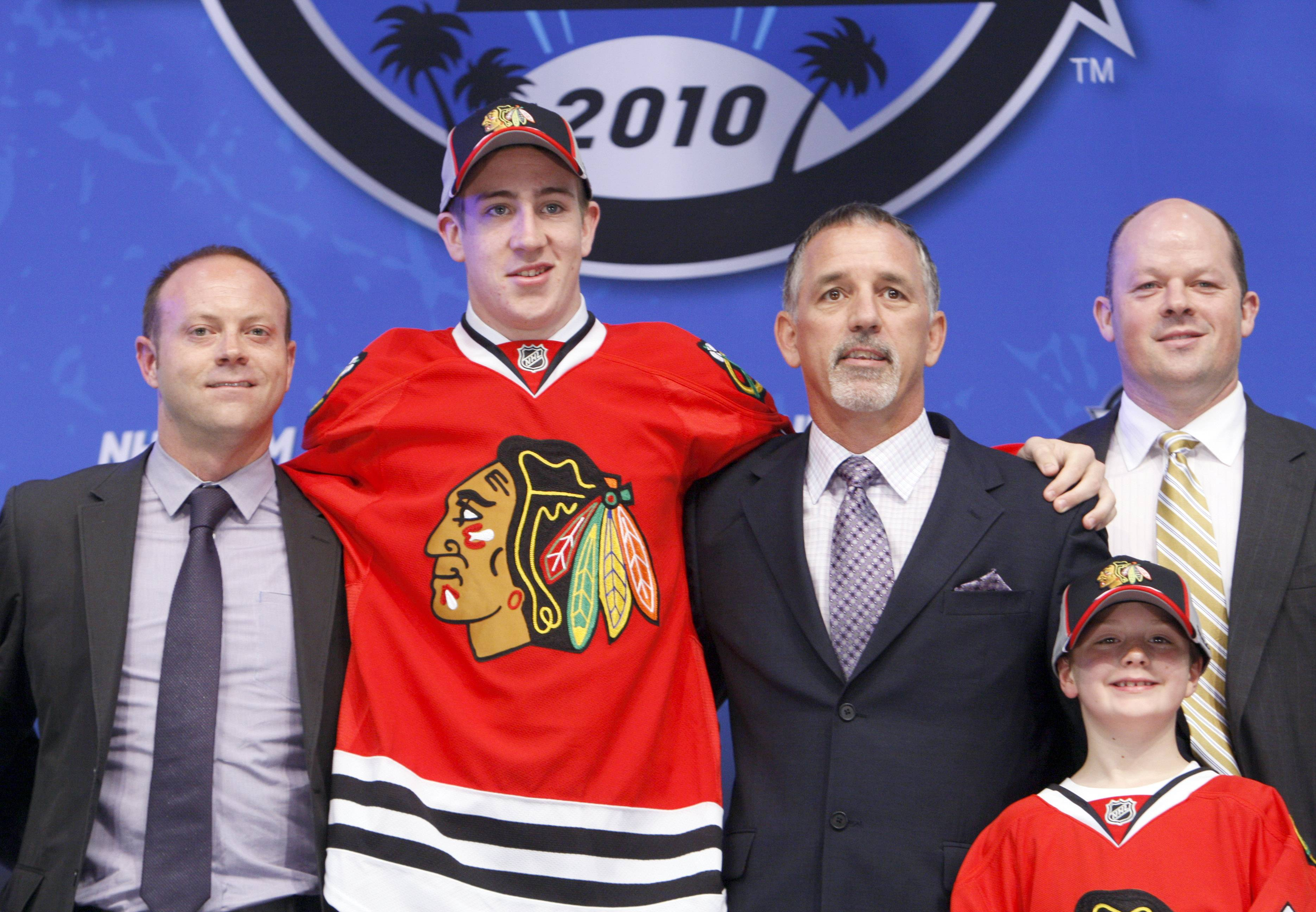 Kevin Hayes, second from left, was the Blackhawks' first round draft pick in 2010.