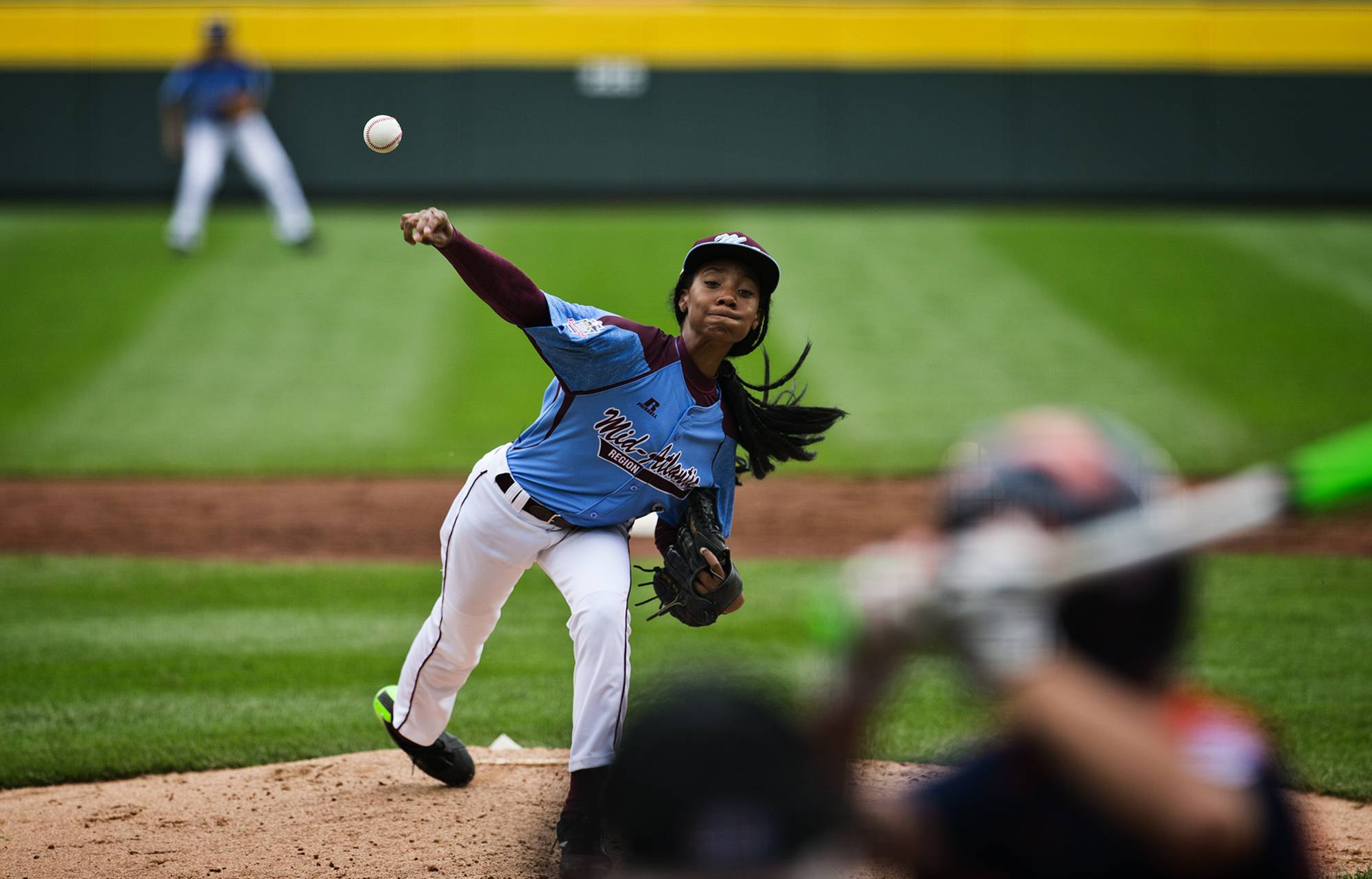 Philadelphia's Mo'ne Davis delivers a pitch against Nashville during her team's 4-0 win Friday at the Little League World Series  in South Williamsport, Pa.