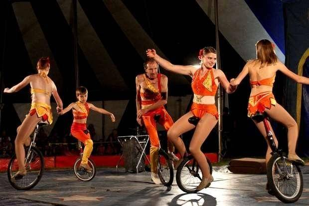 The Arlise Troupe will perform on their wild and crazy unicycles at the Culpepper & Merriweather Circus in Hampshire.