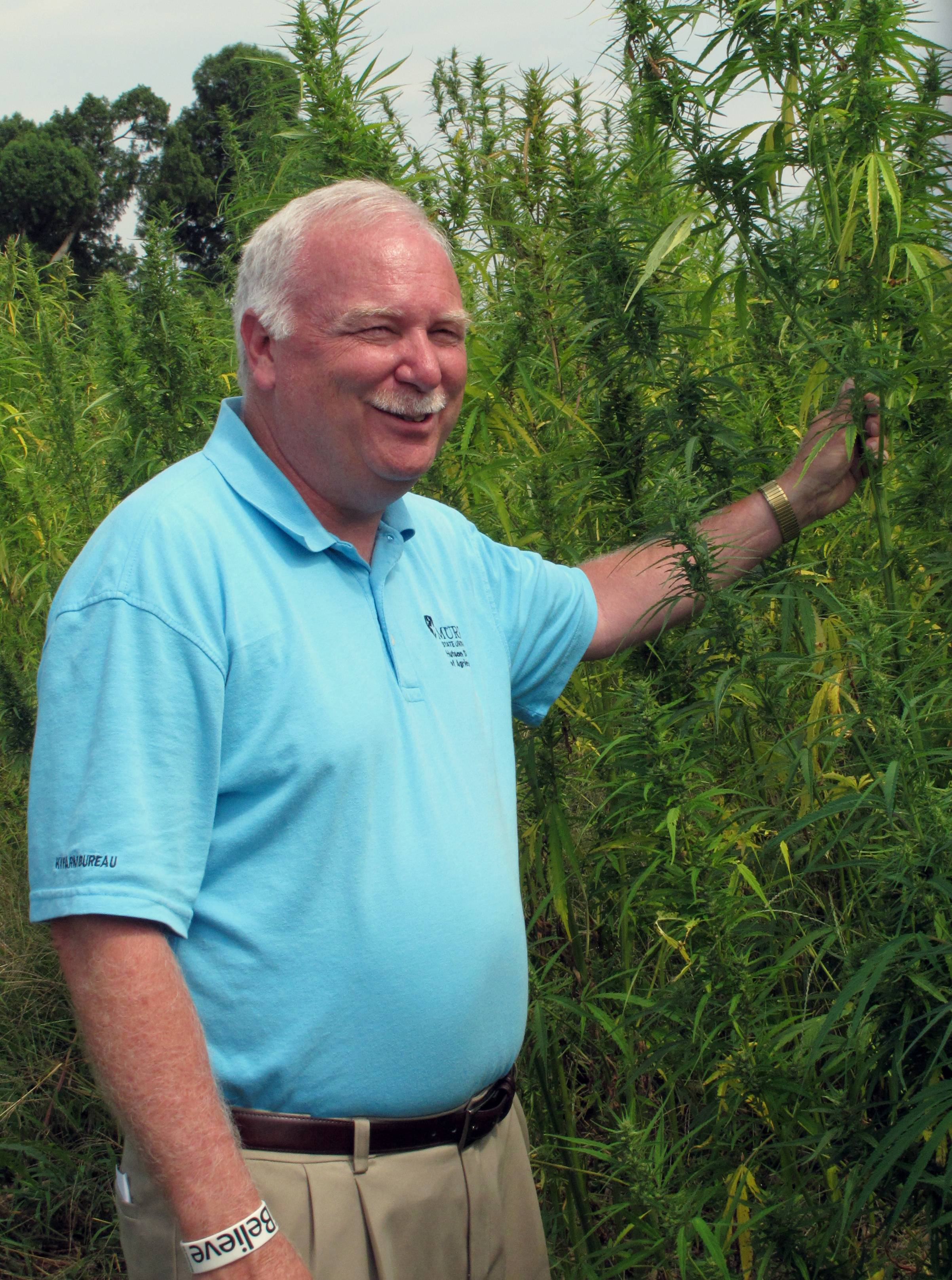 Tony L. Brannon, Murray State University's agriculture dean, stands near a hemp crop at the school's research farm in Murray, Ky.