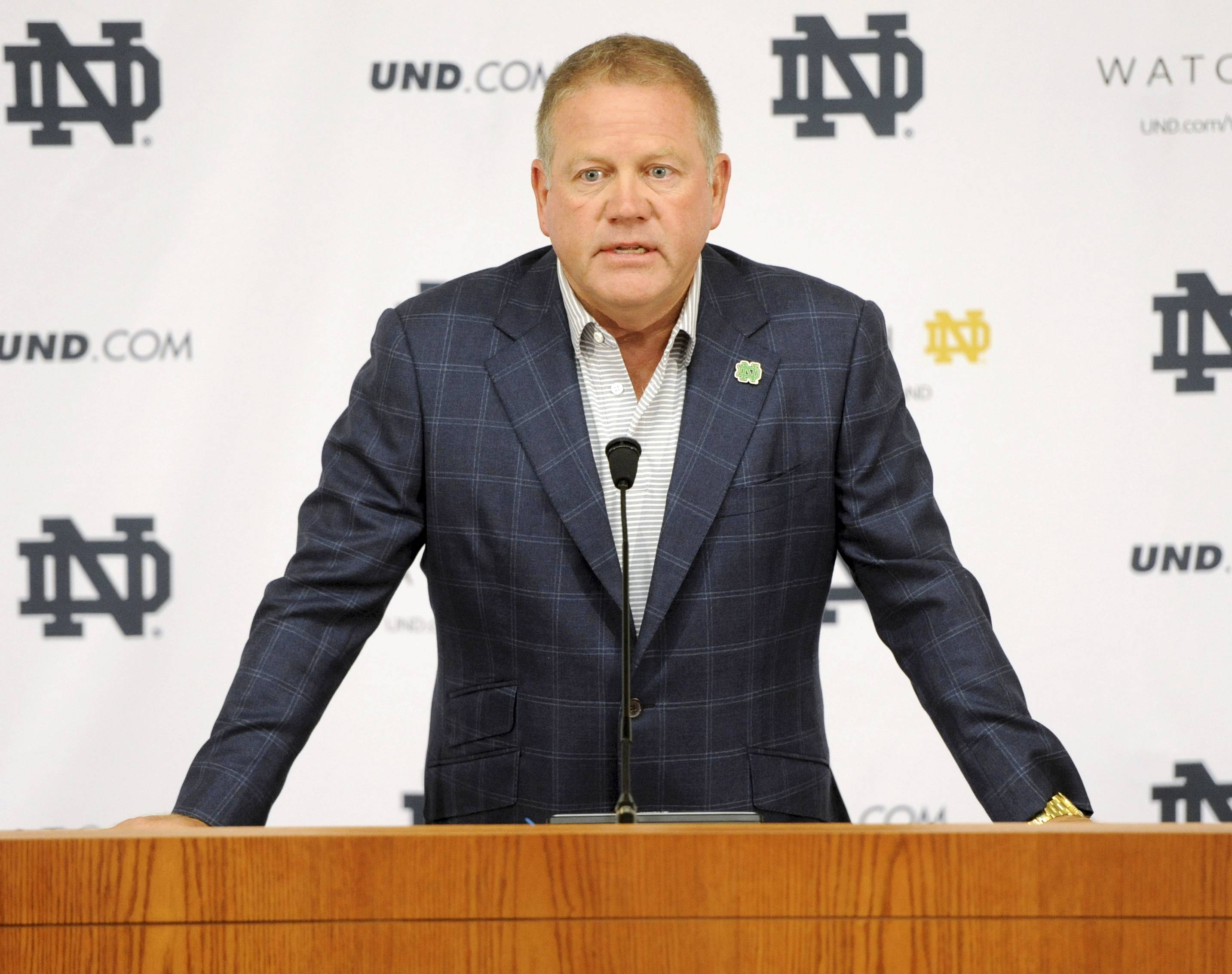 Football coach Brian Kelly said he's proud that Notre Dame has high standards.