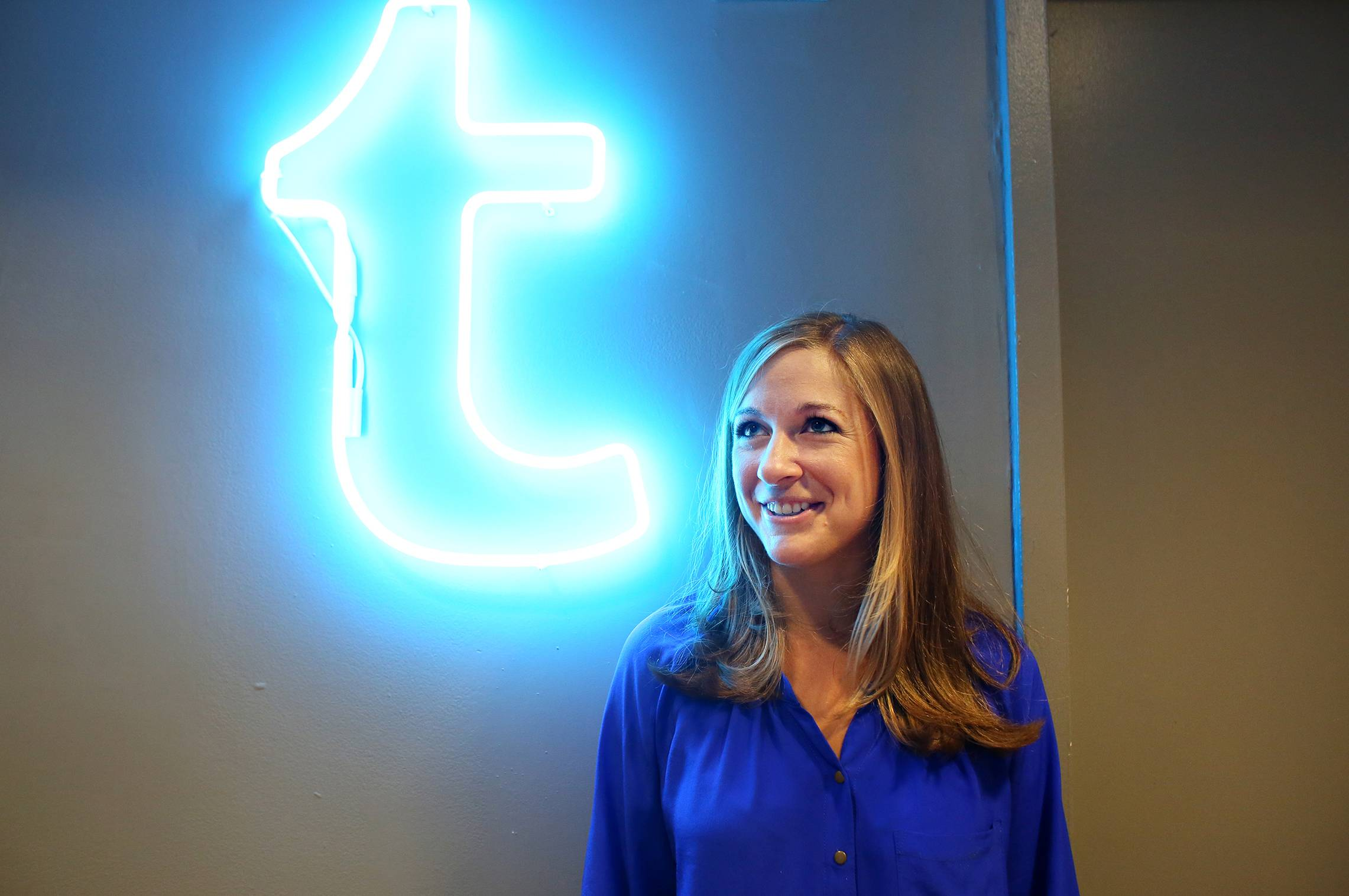 "Lindsay Dole, human resources director of Tumblr, is shown inside their offices in Manhattan, N.Y., on July 18. ""We look for people who can contribute in areas not just in their roles, î she says."