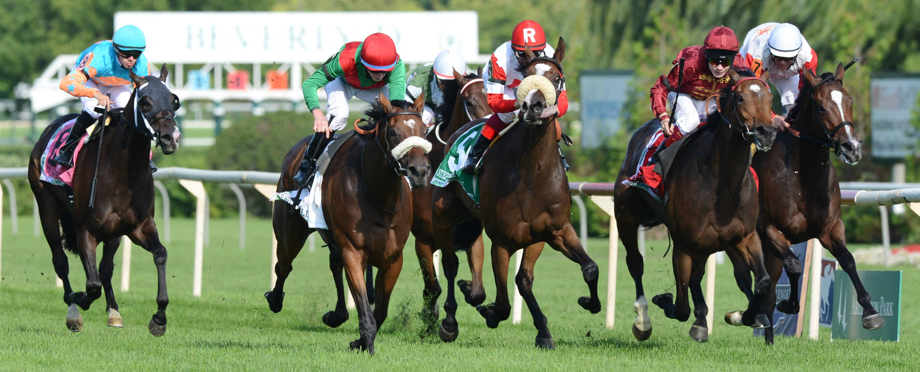 Jockey Ryan Moore rides Euro Charline, left, to a win in the Beverly D. during the International Festival of Racing at Arlington International Racecourse on Saturday.
