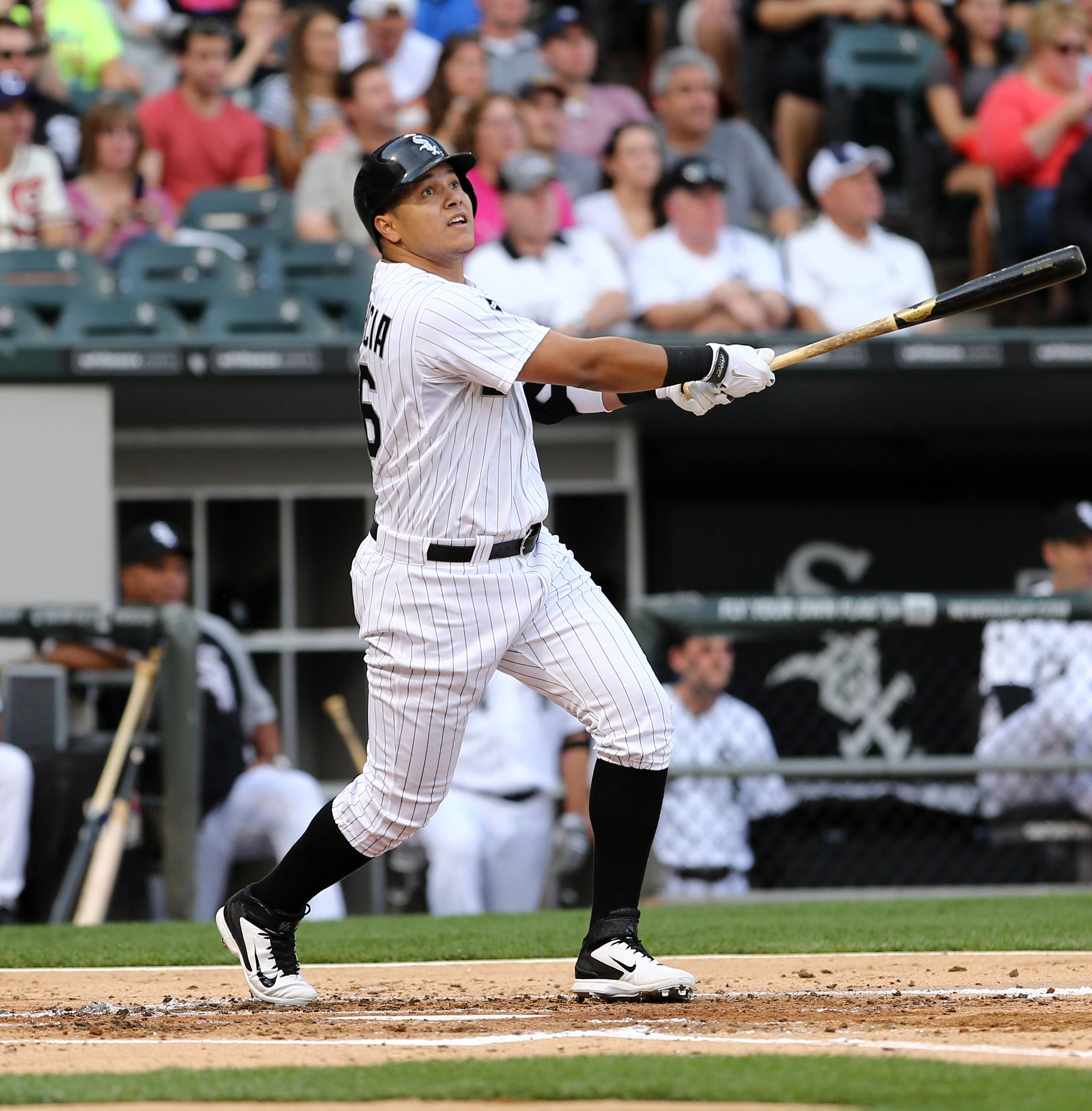 Chicago White Sox's Avisail Garcia watches his double against the Toronto Blue Jays in the second inning of a baseball game in Chicago on Saturday, Aug. 16, 2014.