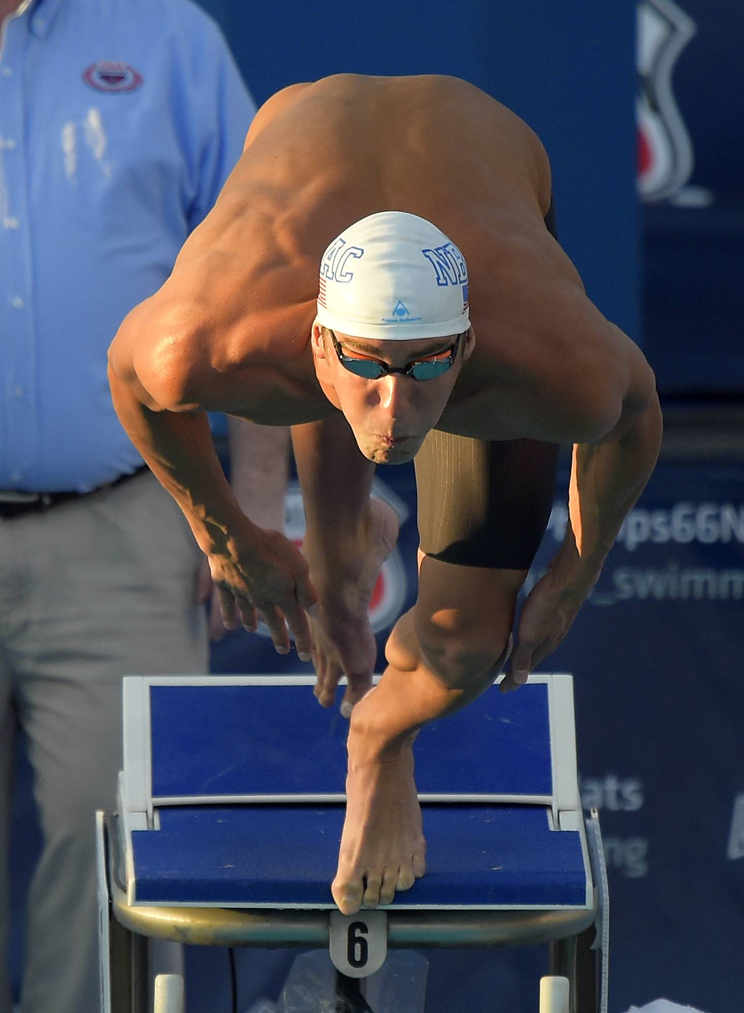 Michael Phelps starts the men's 200-meter individual medley final Aug. 10 at the U.S. nationals in Irvine, Calif