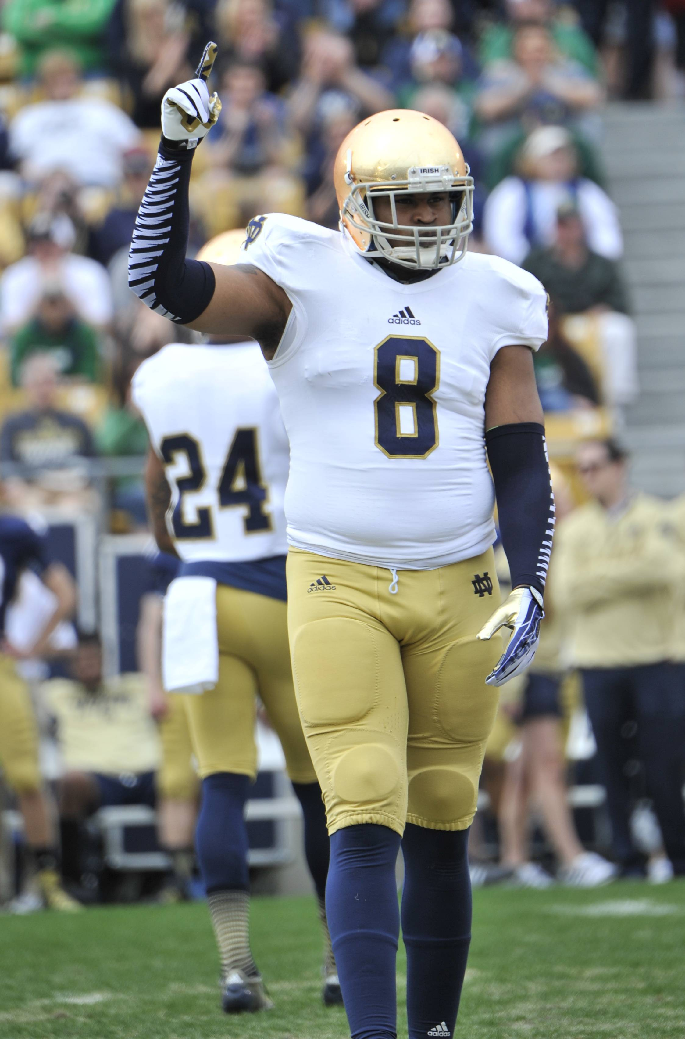 "Notre Dame linebacker Kendall Moore has been accused of ""academic dishonesty."""