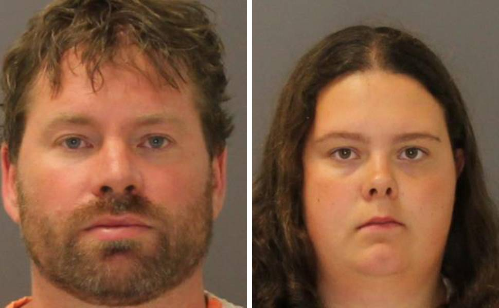 These images provided by the St. Lawrence County Sheriff's Office shows the booking photo of Stephen Howells II, left, and Nicole Vaisey, who was arraigned late Friday on charges they intended to physically harm or sexually abuse two Amish sisters after abducting them from a roadside farm stand.