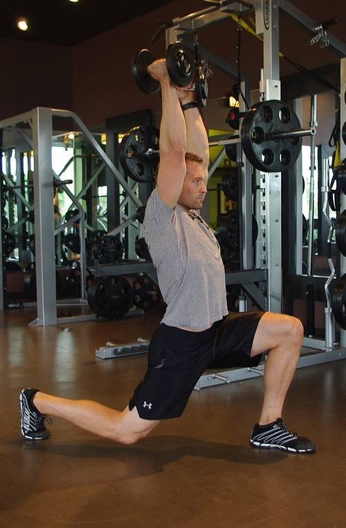 Lunge with arms overhead is an effective exercise if pressed for time.