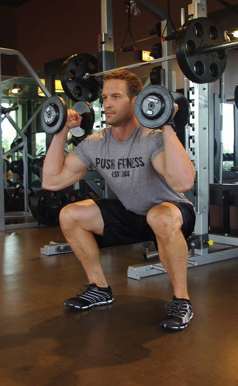 Squat to dumbbell press works the entire body.