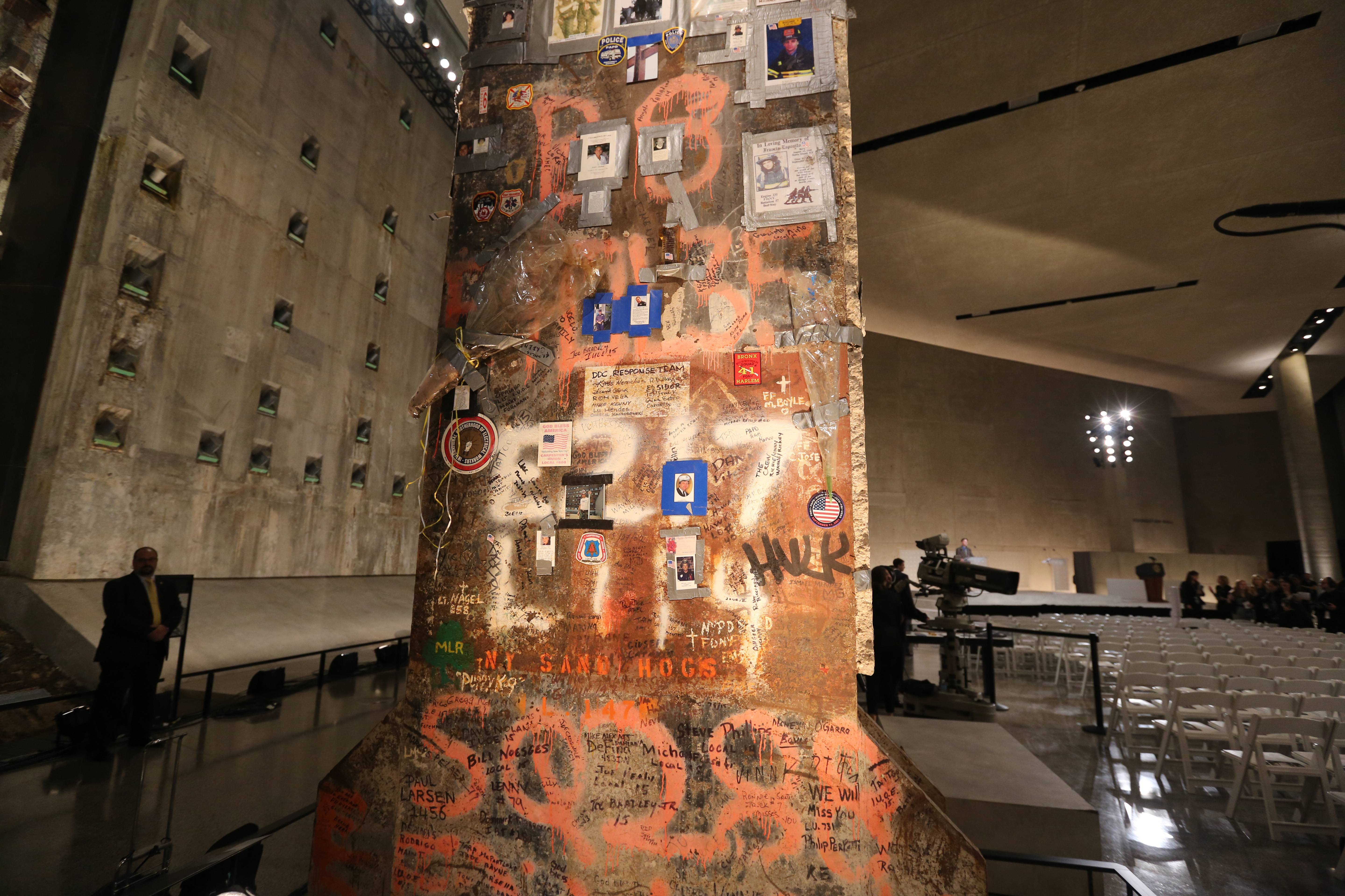 A steel beam from the World Trade Center sits at the center of Foundation Hall at the National September 11 Memorial Museum in New York.