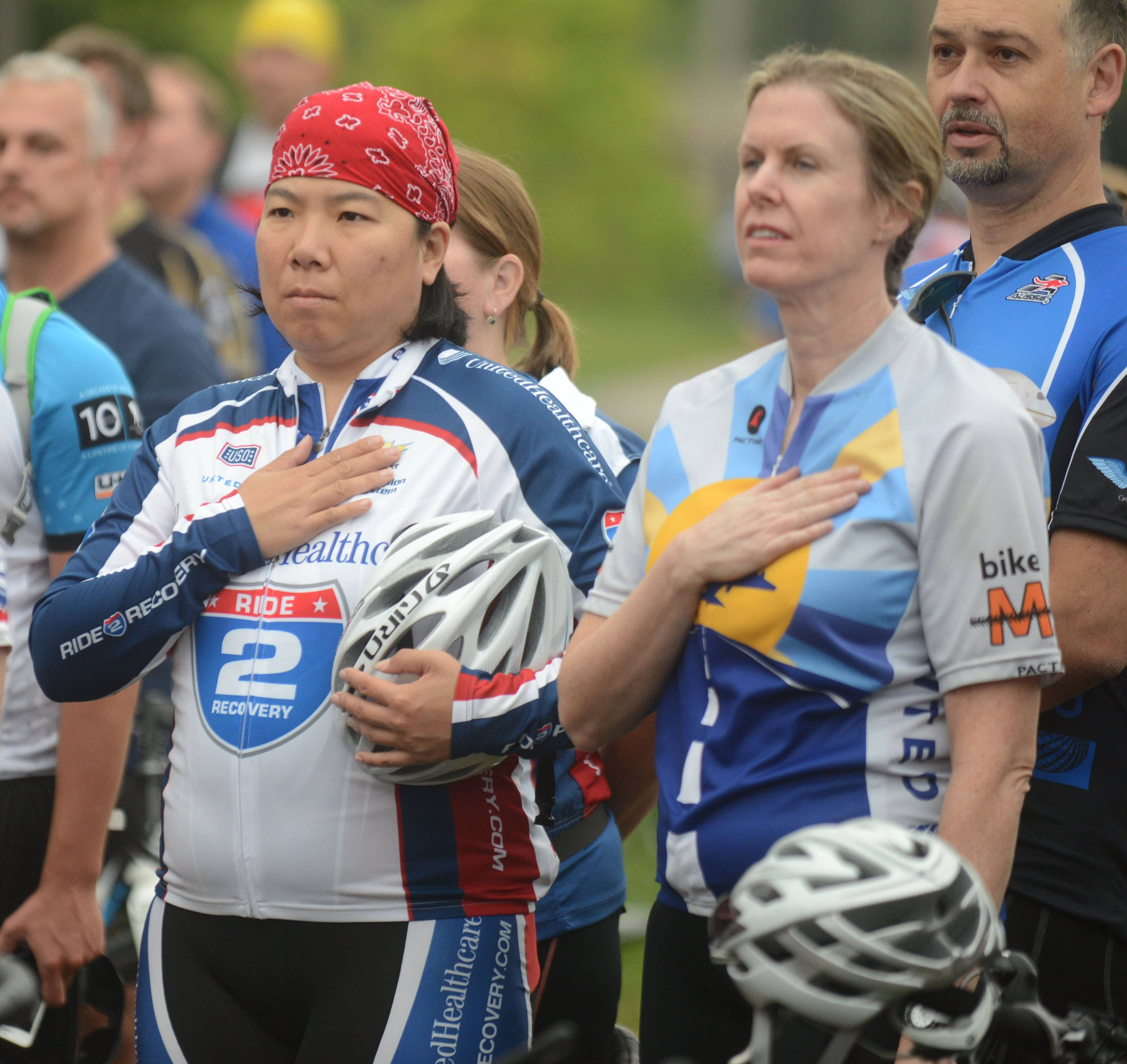 Nicole Lee of Chicago, left, and Laura Berry of Chicago before participating Sunday in the fourth annual Barrington Honor Ride. The event raised money for Ride 2 Recovery, a national effort to provide custom bicycles and cycling programs at VA hospitals across the country.