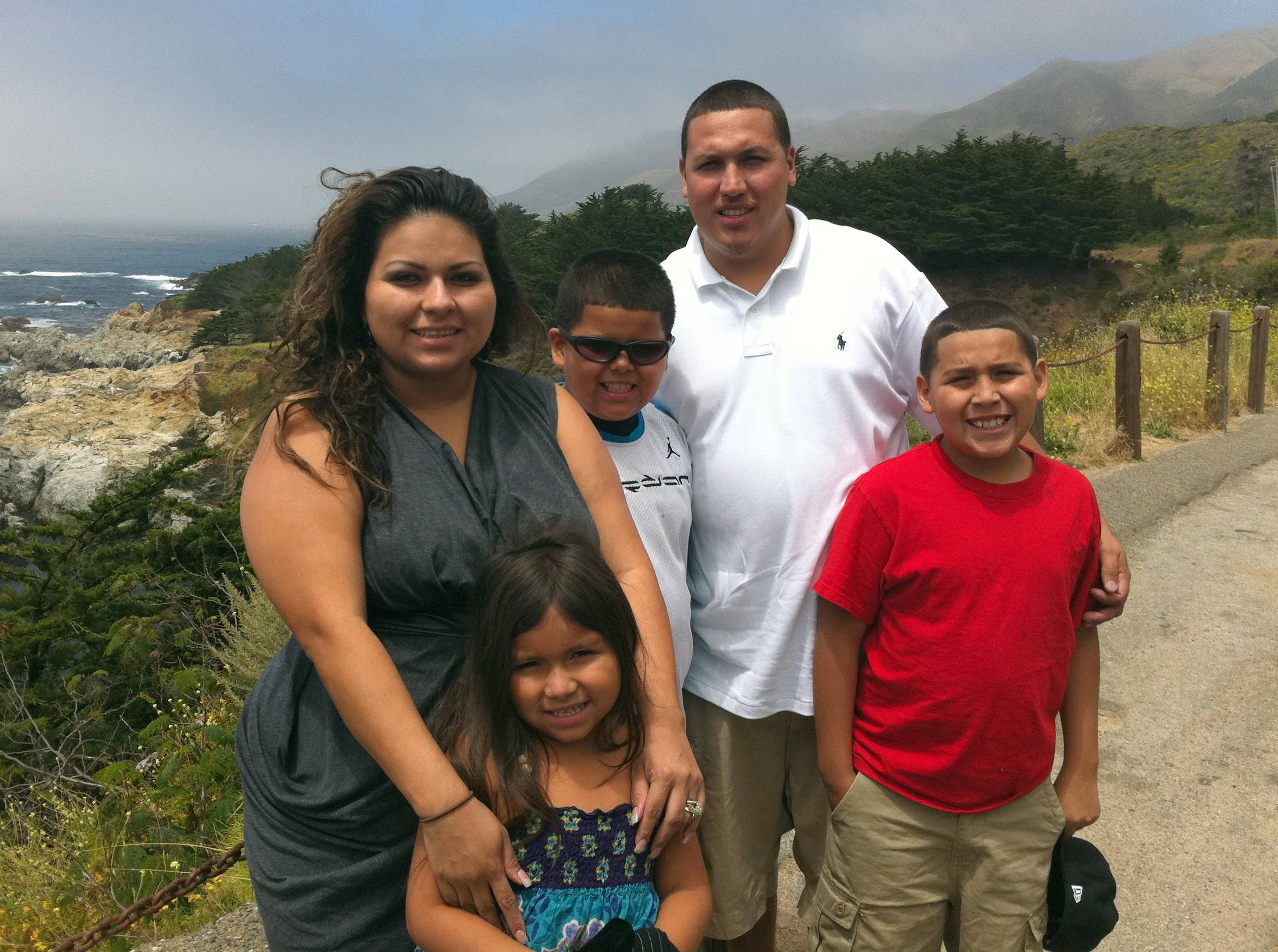 This undated photo provide by the Barajas family shows from left, Cindy Barajas, Jenessah Barajas, Caleb Barajas, David Barajas and David Barajas Jr. Caleb and David Jr. were killed during a Dec. 7, 2012, accident near their home in Alvin, Texas, as the boys and their father were pushing their truck on a rural road after it had broken down. Authorities say 20-year-old Jose Banda was intoxicated when he slammed his vehicle into the truck, killing the brothers. The boys' father was charged with fatally shooting Banda minutes after the accident. His trial is set to begin Monday, Aug 18.