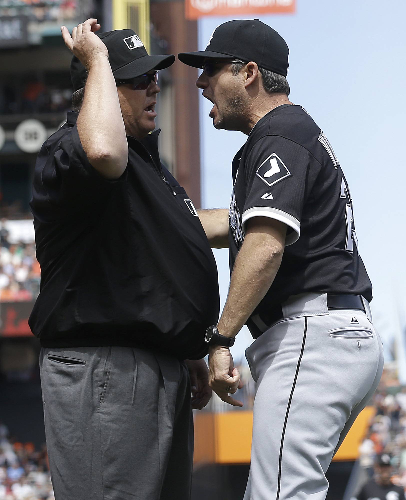 White Sox manager Robin Ventura is ejected by umpire Fieldin Culbreth for arguing a call on the Giants' Gregor Blanco last week. Blanco originally was ruled out at home but then ruled safe after review.