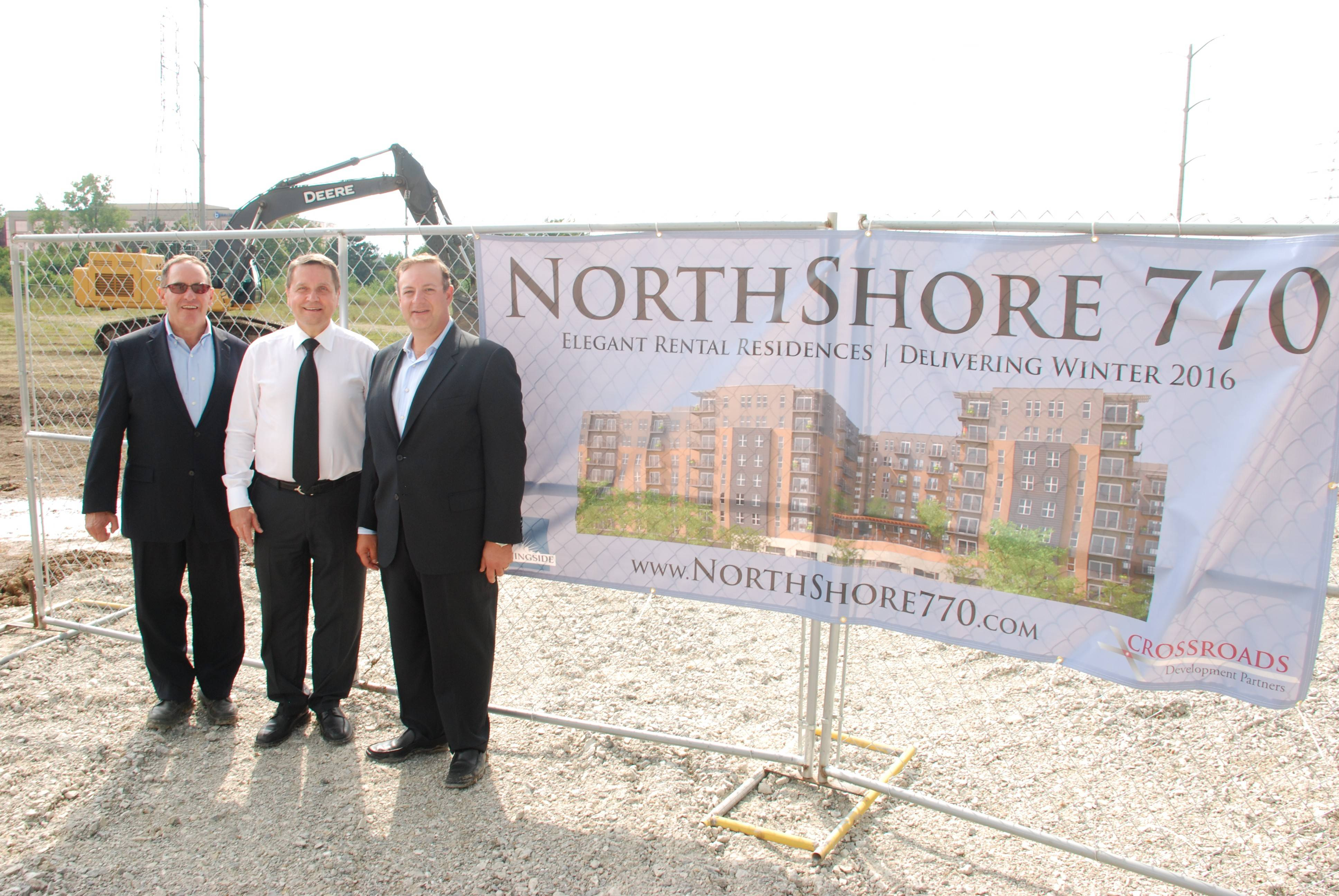 Posing in front of the construction area for the new multiuse development called Northshore 770 in Northbrook are David Strosberg, president and managing principal of Chicago-based Morningside Group, Bob Mariano of Inverness and CEO of Marianos', and Michael Nortman, principal of Crossroads Development Partners.