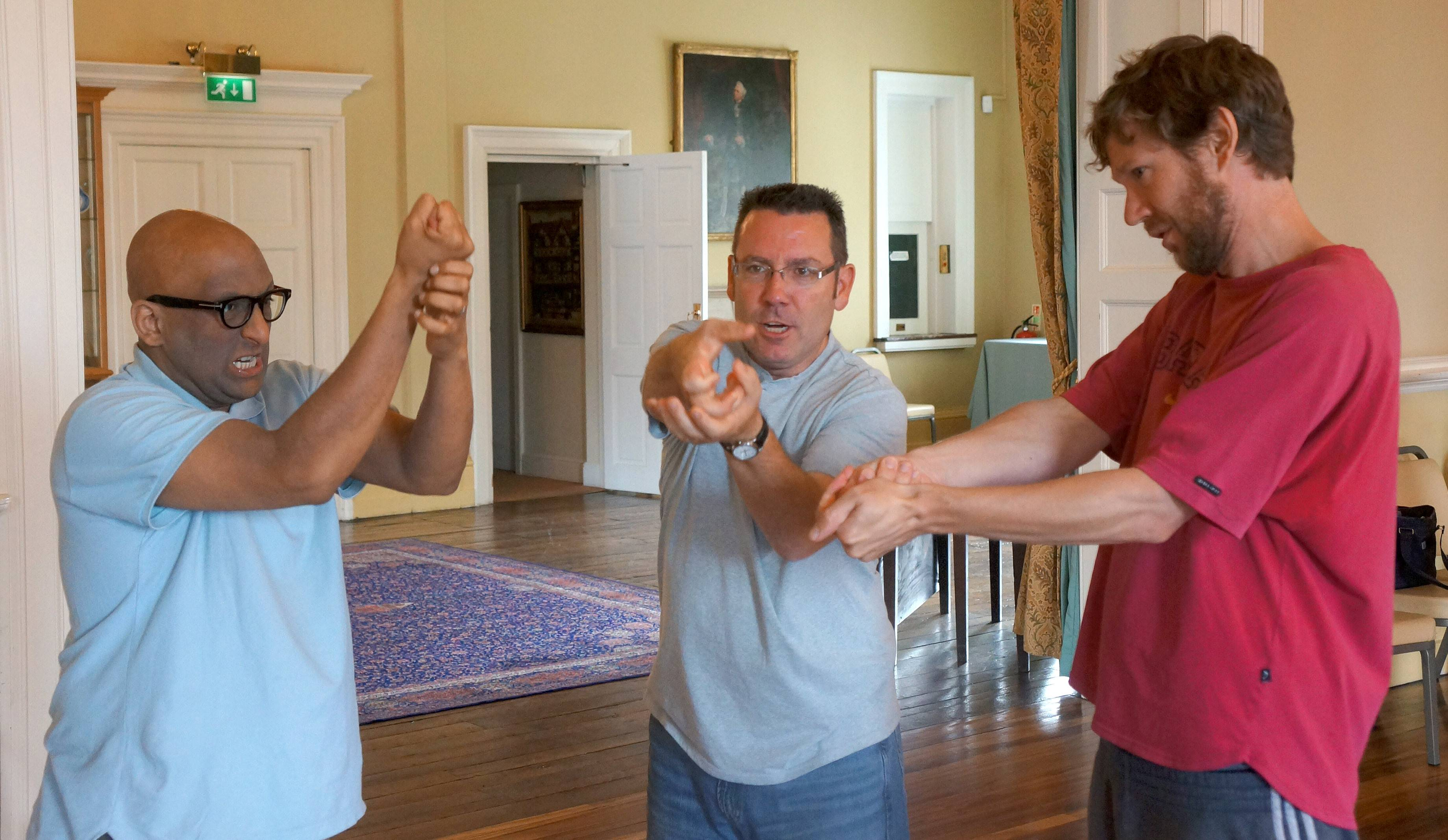 "Sean Hargadon, center, said, ""This was a four-hour workshop about 'War and Warring.' During this exercise we are applying physical movements to one of the 'Henry V' speeches."
